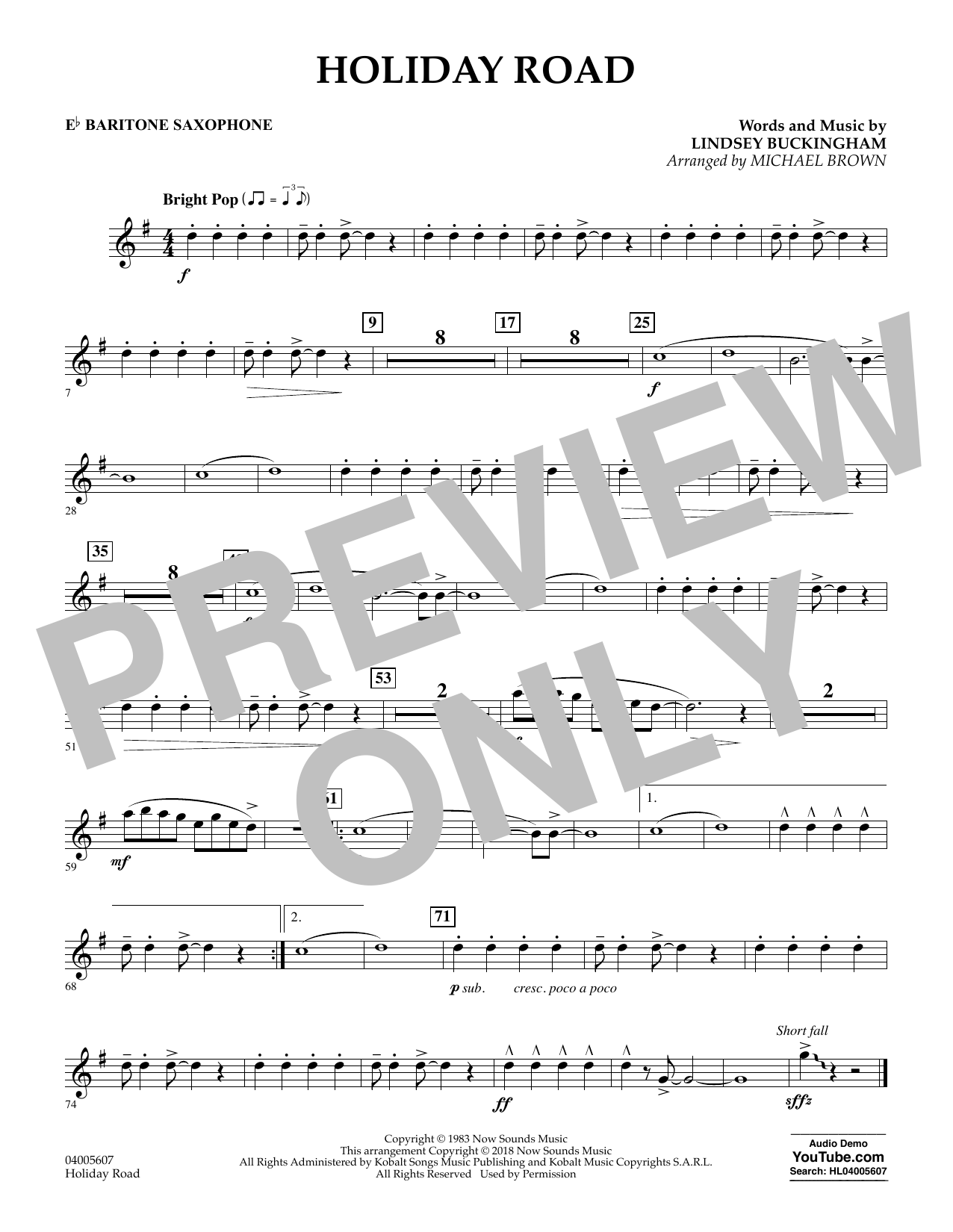Holiday Road (from National Lampoon's Vacation) (arr. Michael Brown) - Eb Baritone Saxophone (Concert Band)