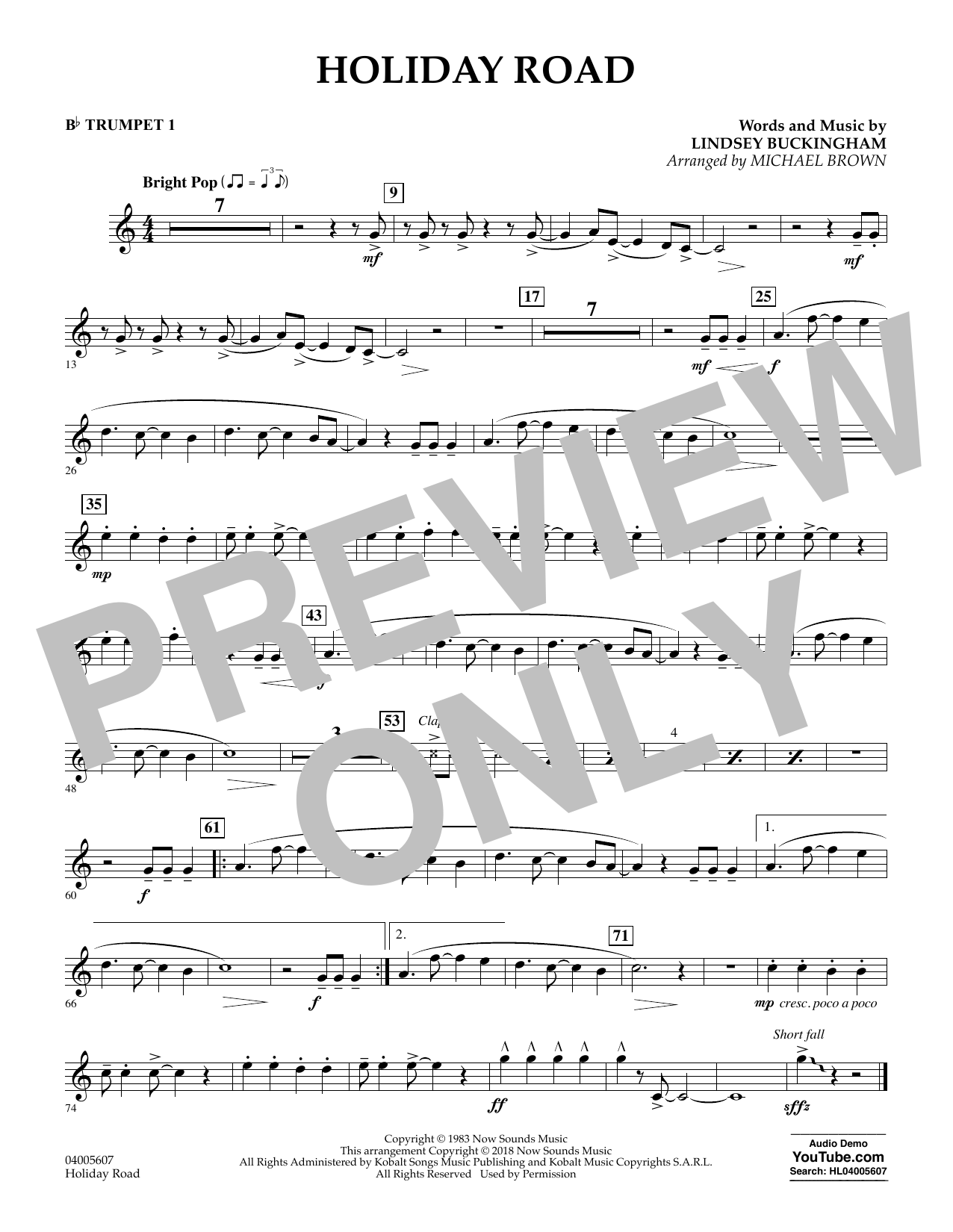 Holiday Road (from National Lampoon's Vacation) (arr. Michael Brown) - Bb Trumpet 1 (Concert Band)