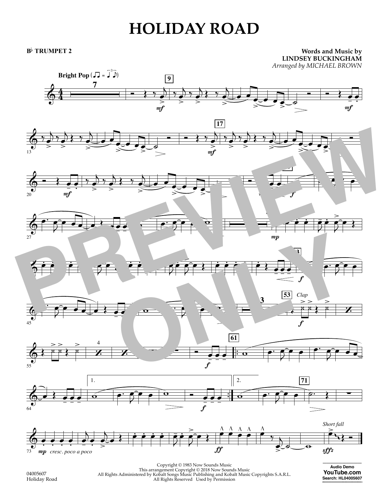 Holiday Road (from National Lampoon's Vacation) (arr. Michael Brown) - Bb Trumpet 2 (Concert Band)