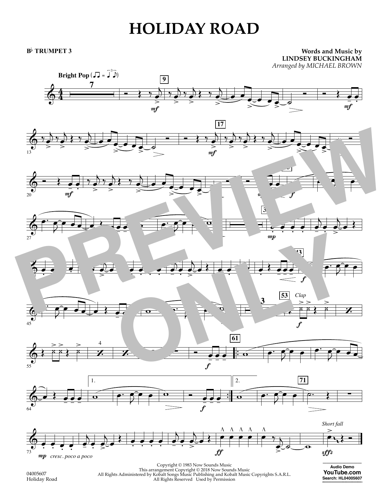 Holiday Road (from National Lampoon's Vacation) (arr. Michael Brown) - Bb Trumpet 3 (Concert Band)