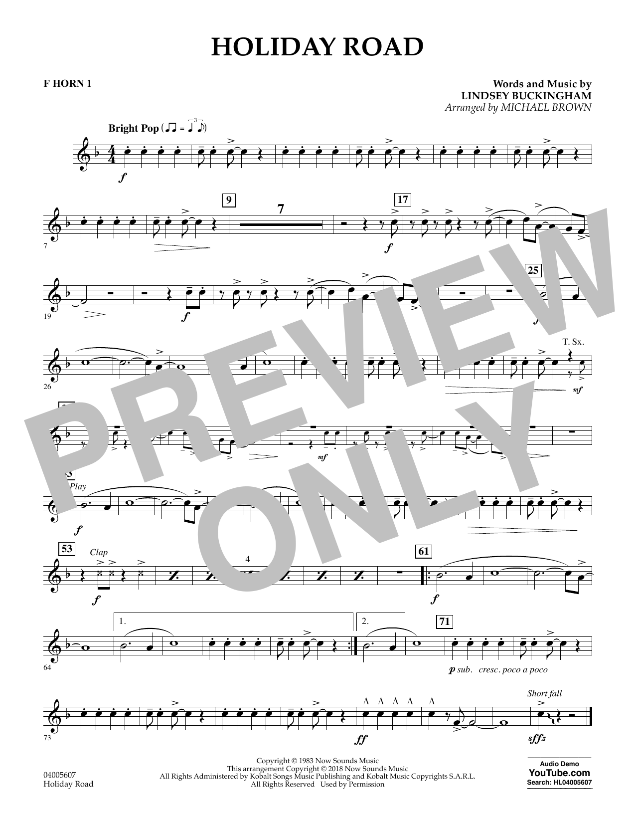 Holiday Road (from National Lampoon's Vacation) (arr. Michael Brown) - F Horn 1 (Concert Band)