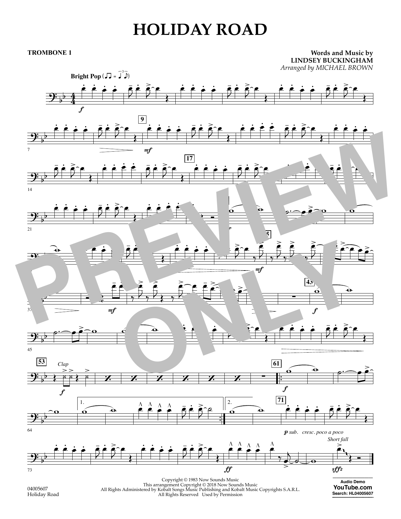Holiday Road (from National Lampoon's Vacation) (arr. Michael Brown) - Trombone 1 (Concert Band)
