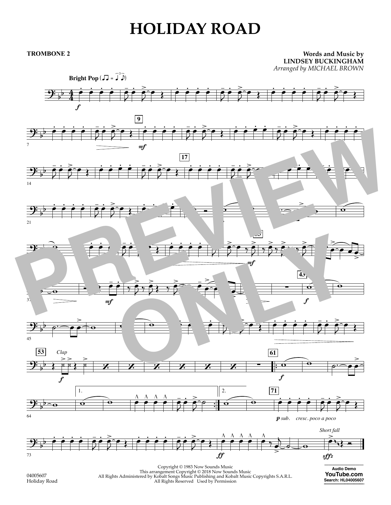 Holiday Road (from National Lampoon's Vacation) (arr. Michael Brown) - Trombone 2 (Concert Band)