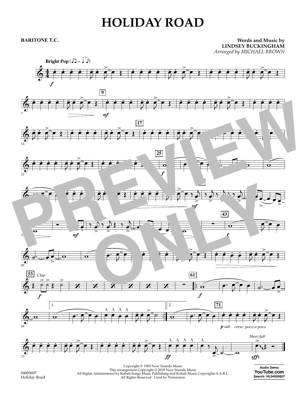 Holiday Road (from National Lampoon's Vacation) (arr. Michael Brown) - Baritone T.C. (Concert Band)