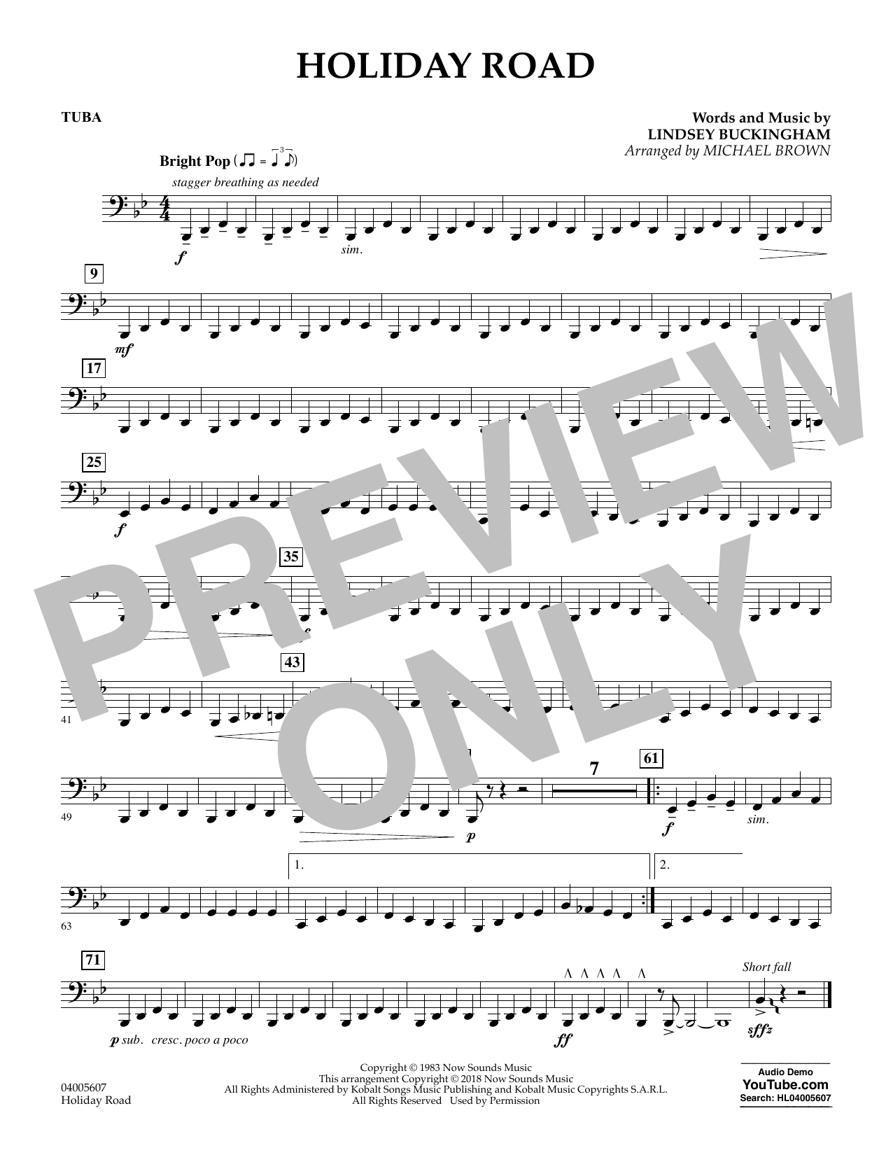 Holiday Road (from National Lampoon's Vacation) (arr. Michael Brown) - Tuba (Concert Band)