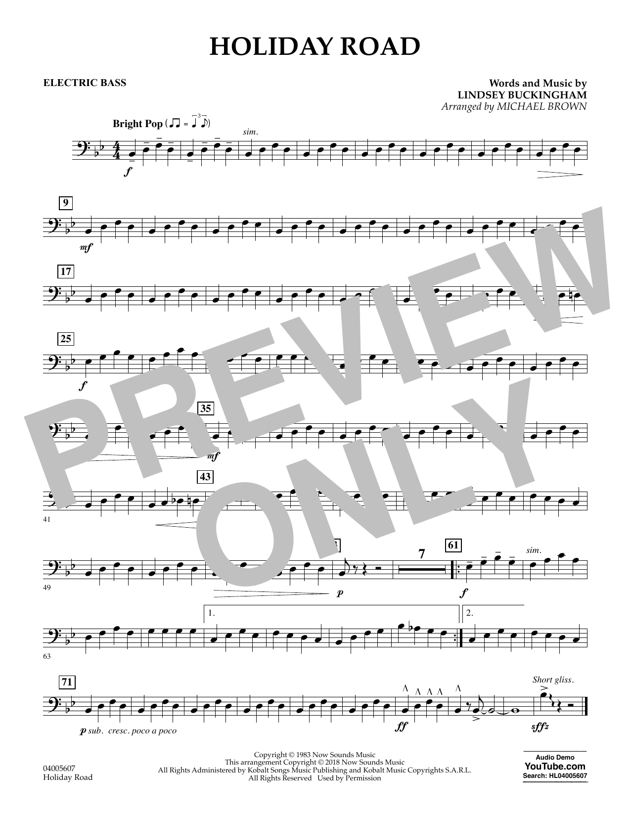 Holiday Road (from National Lampoon's Vacation) (arr. Michael Brown) - Electric Bass (Concert Band)