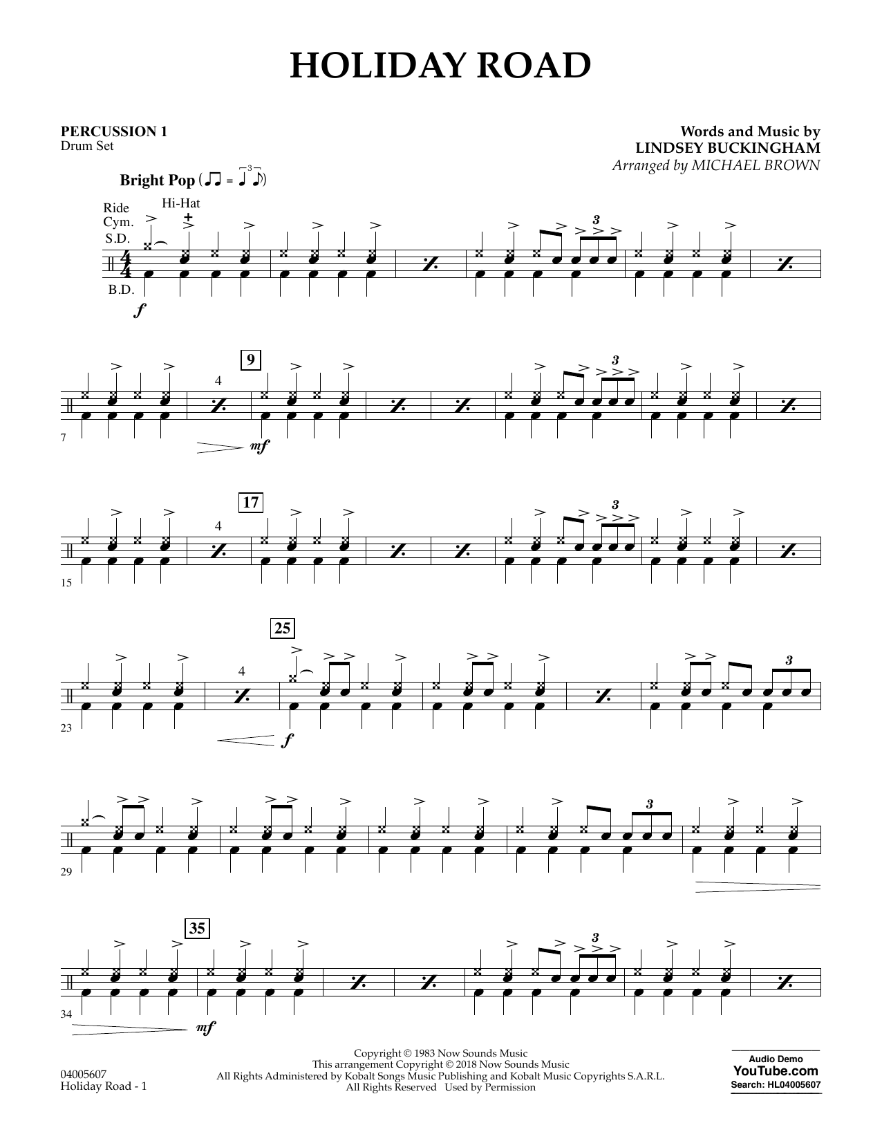 Holiday Road (from National Lampoon's Vacation) (arr. Michael Brown) - Percussion 1 (Concert Band)