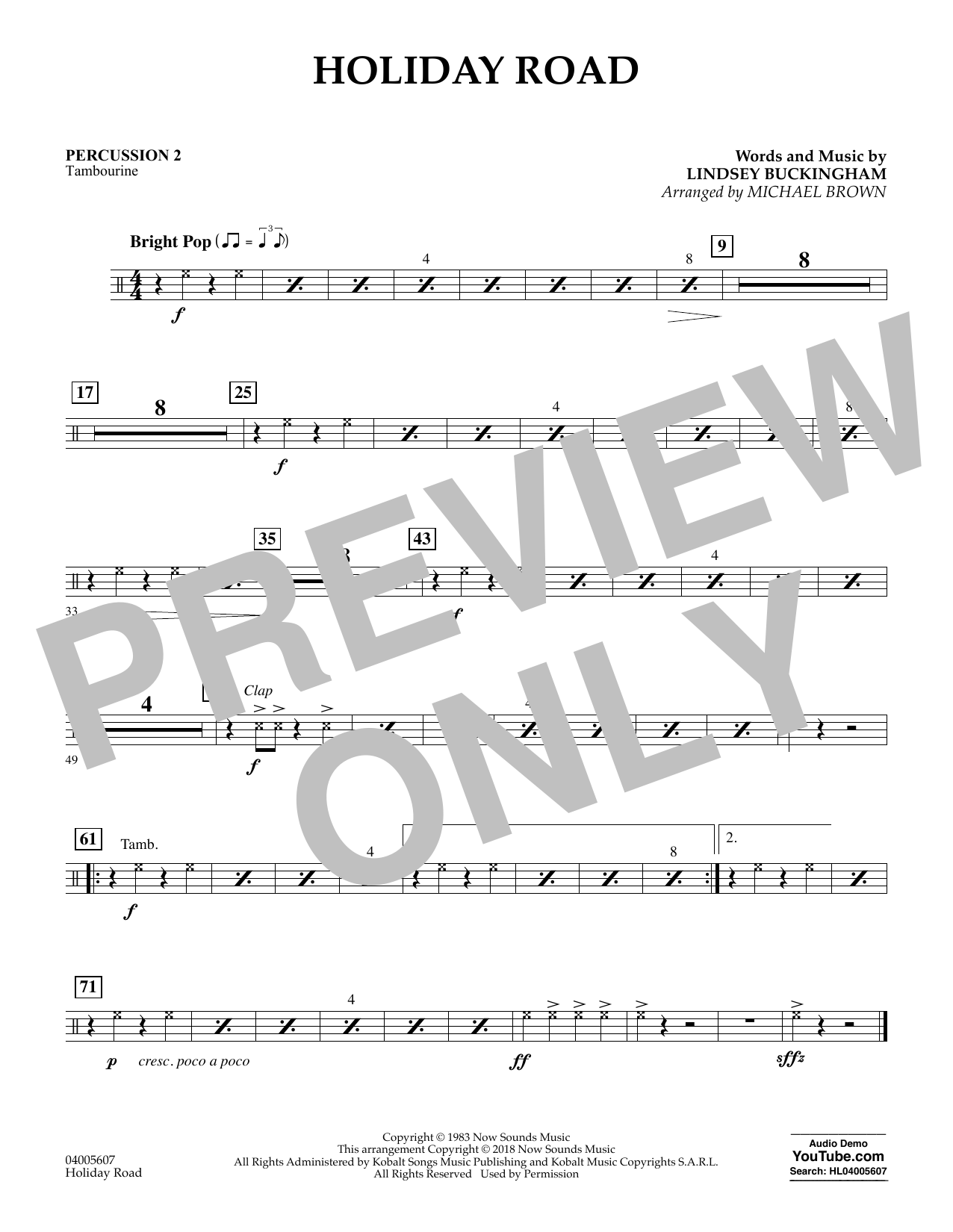 Holiday Road (from National Lampoon's Vacation) (arr. Michael Brown) - Percussion 2 (Concert Band)