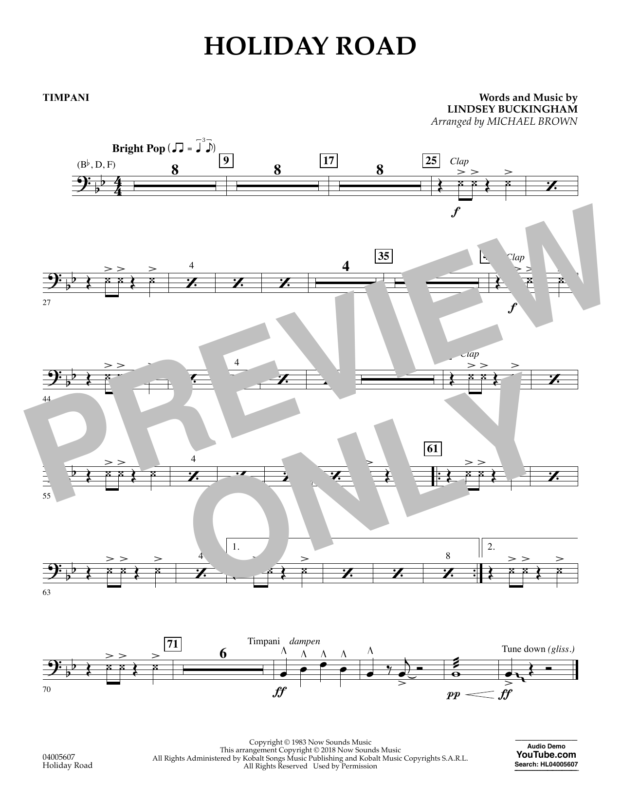 Holiday Road (from National Lampoon's Vacation) (arr. Michael Brown) - Timpani (Concert Band)