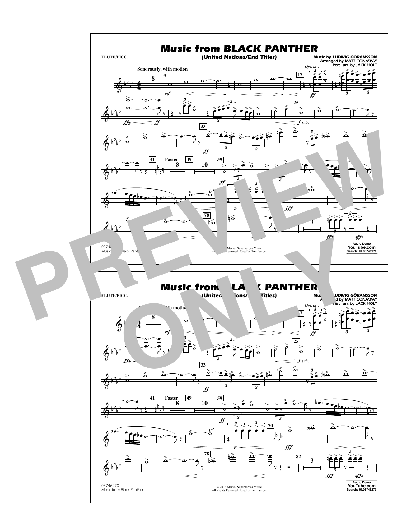 Music from Black Panther (arr. Matt Conaway) - Flute/Piccolo (Marching Band)