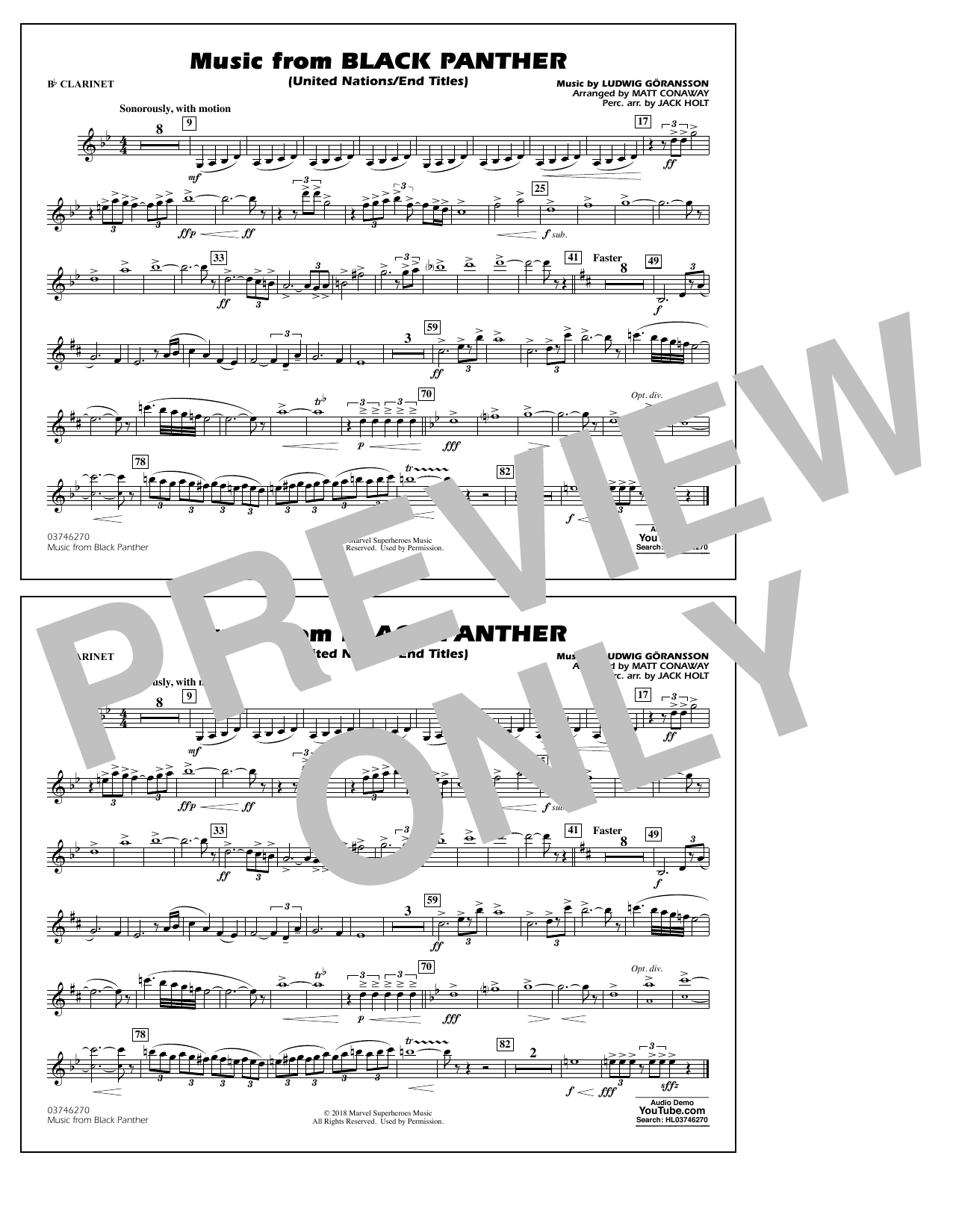Music from Black Panther (arr. Matt Conaway) - Bb Clarinet (Marching Band)