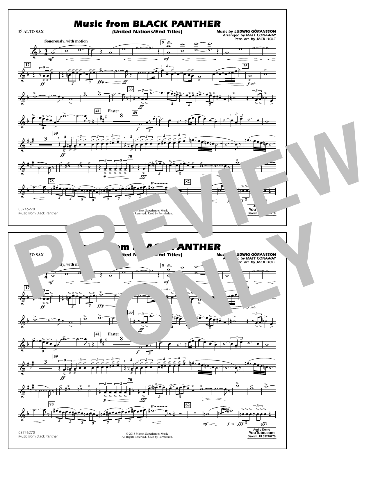 Music from Black Panther (arr. Matt Conaway) - Eb Alto Sax (Marching Band)