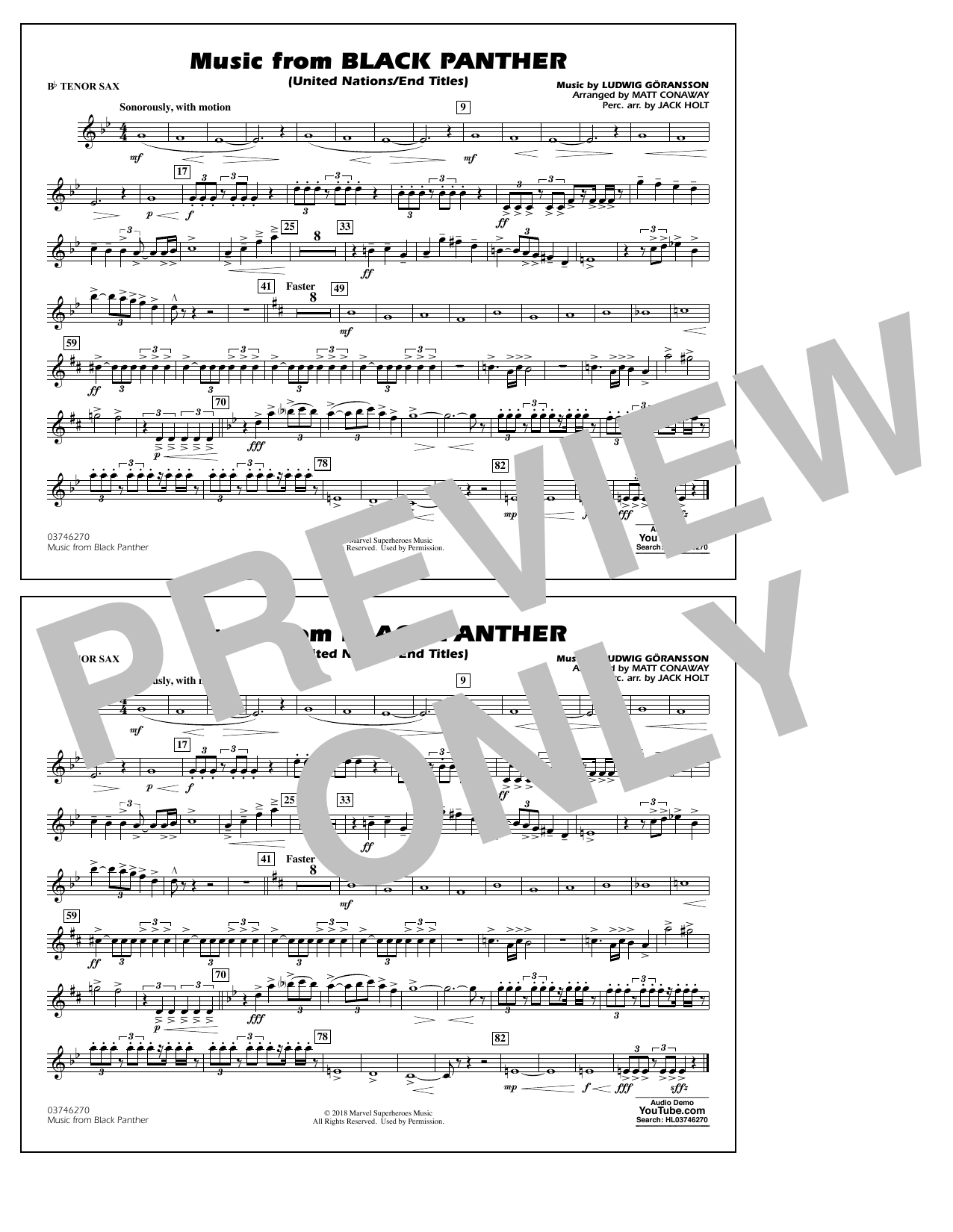 Music from Black Panther (arr. Matt Conaway) - Bb Tenor Sax (Marching Band)