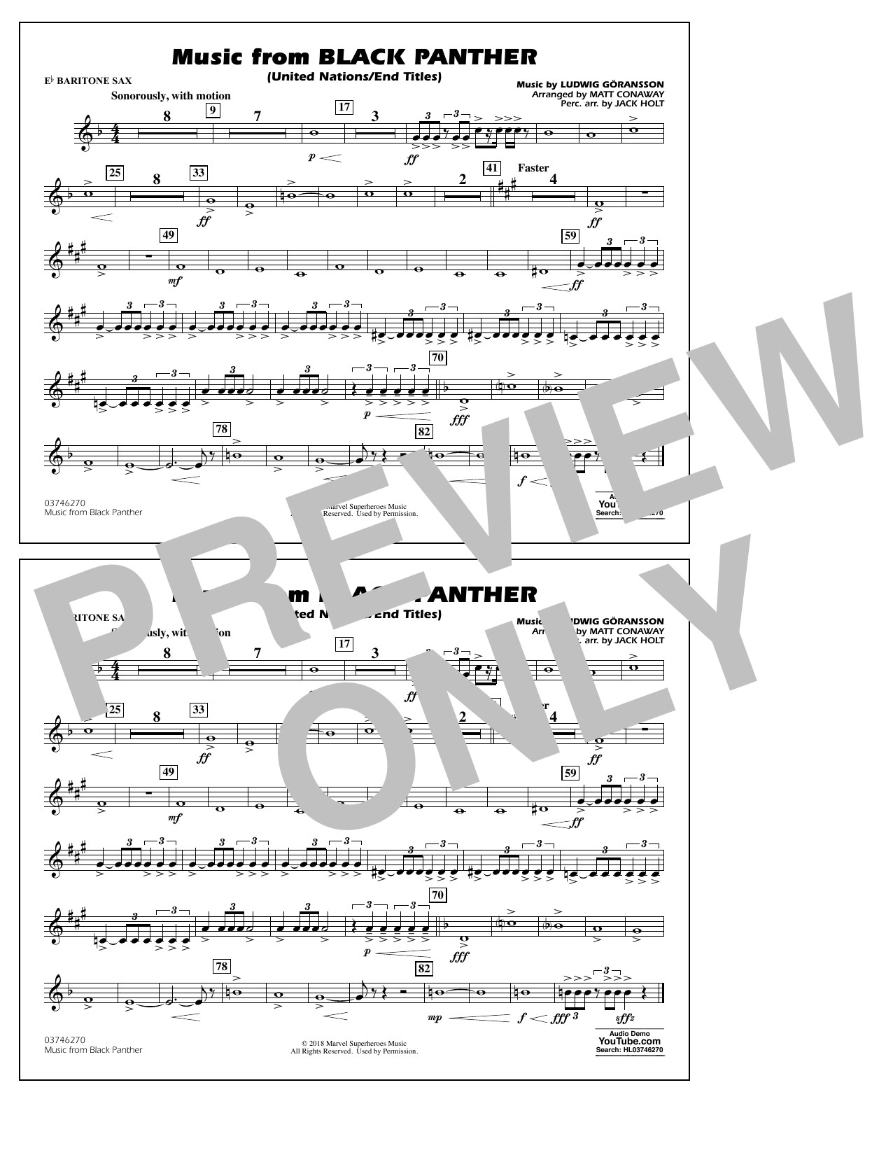 Music from Black Panther (arr. Matt Conaway) - Eb Baritone Sax (Marching Band)