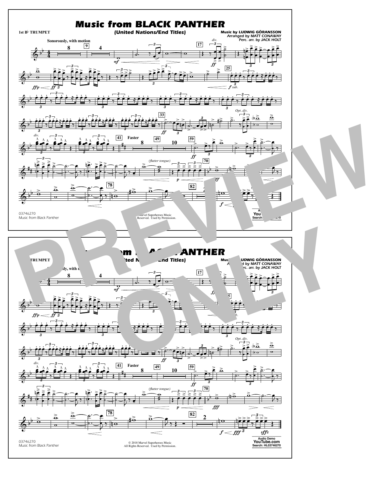 Music from Black Panther (arr. Matt Conaway) - 1st Bb Trumpet (Marching Band)