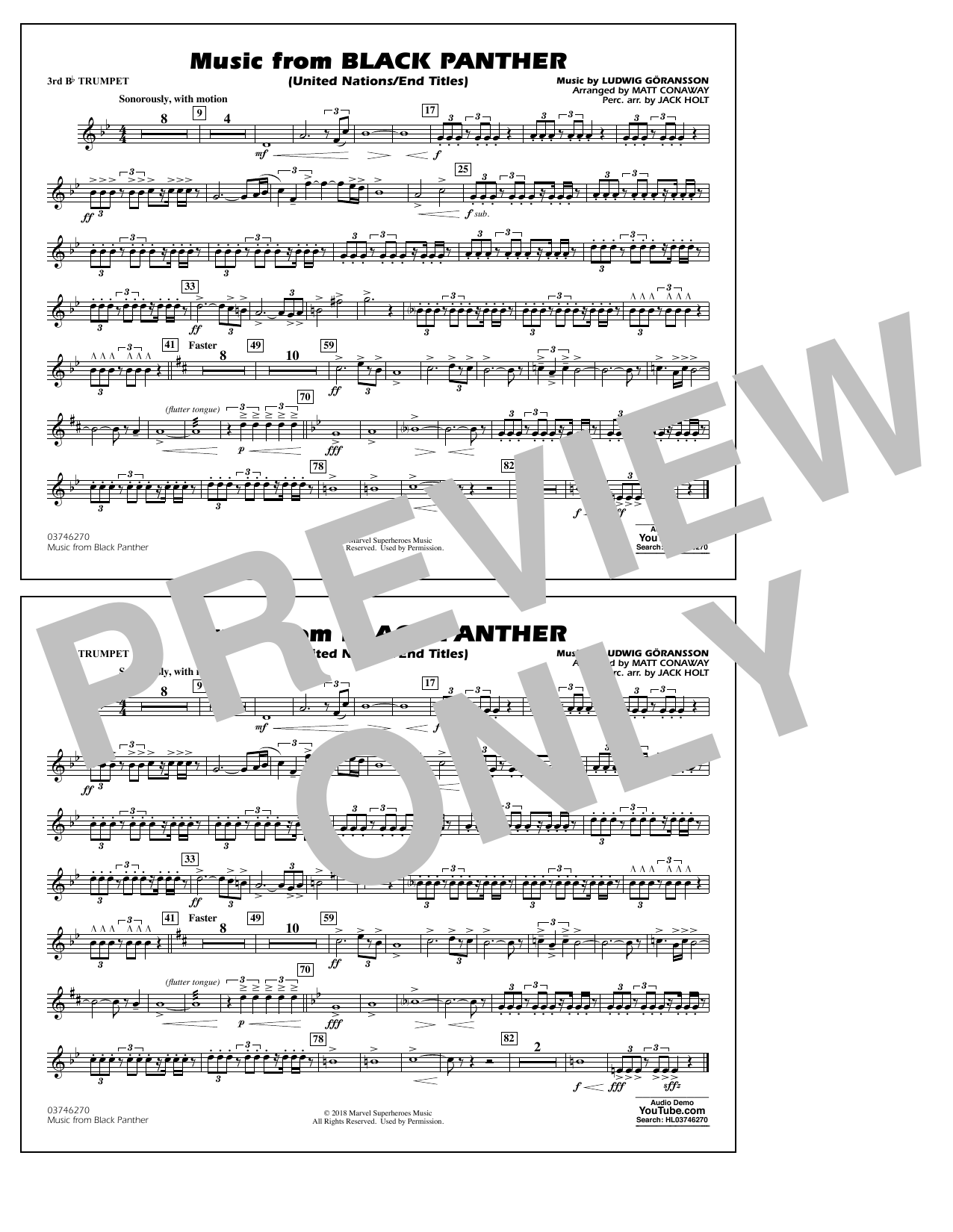 Music from Black Panther (arr. Matt Conaway) - 3rd Bb Trumpet (Marching Band)