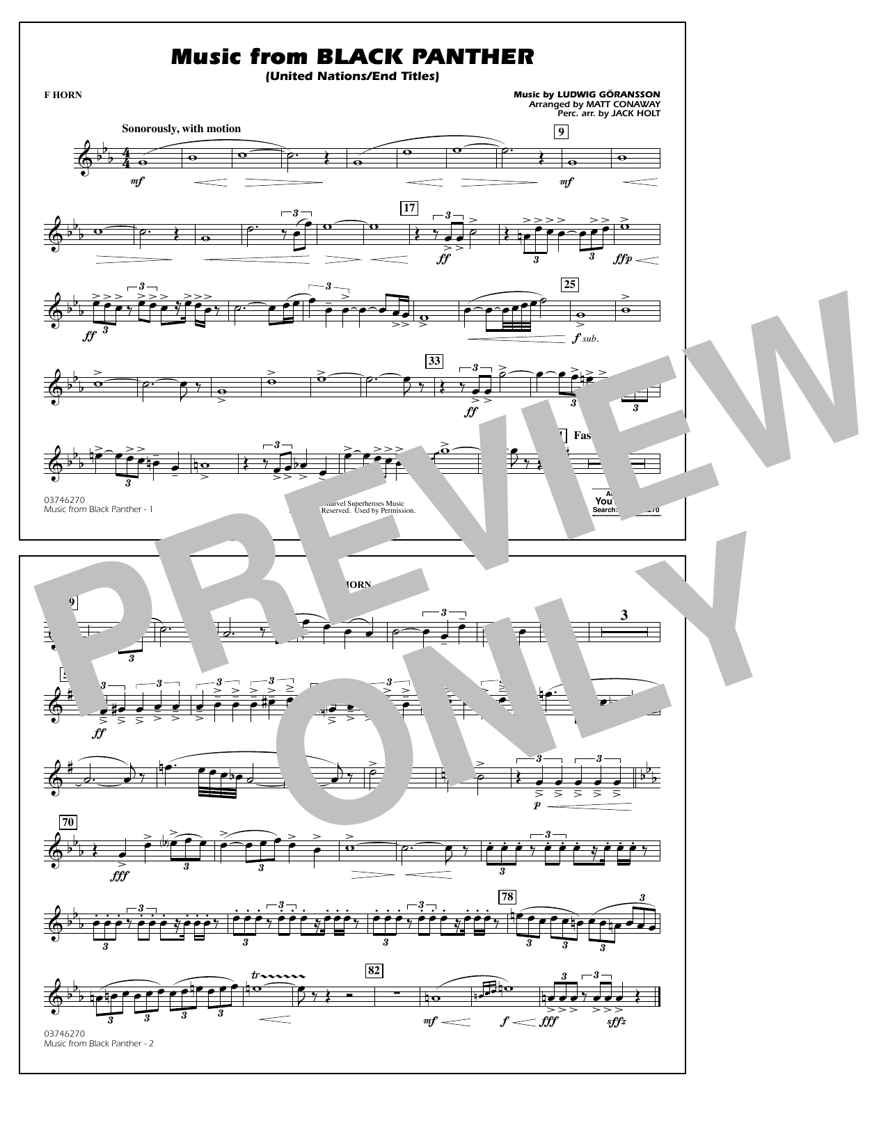 Music from Black Panther (arr. Matt Conaway) - F Horn (Marching Band)