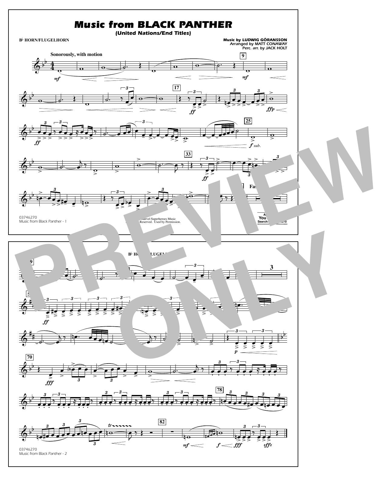 Music from Black Panther (arr. Matt Conaway) - Bb Horn/Flugelhorn (Marching Band)