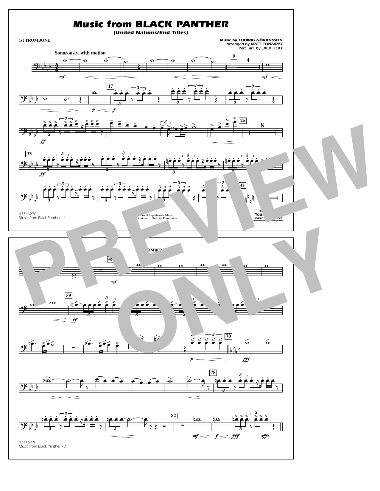 Music from Black Panther (arr. Matt Conaway) - 1st Trombone (Marching Band)
