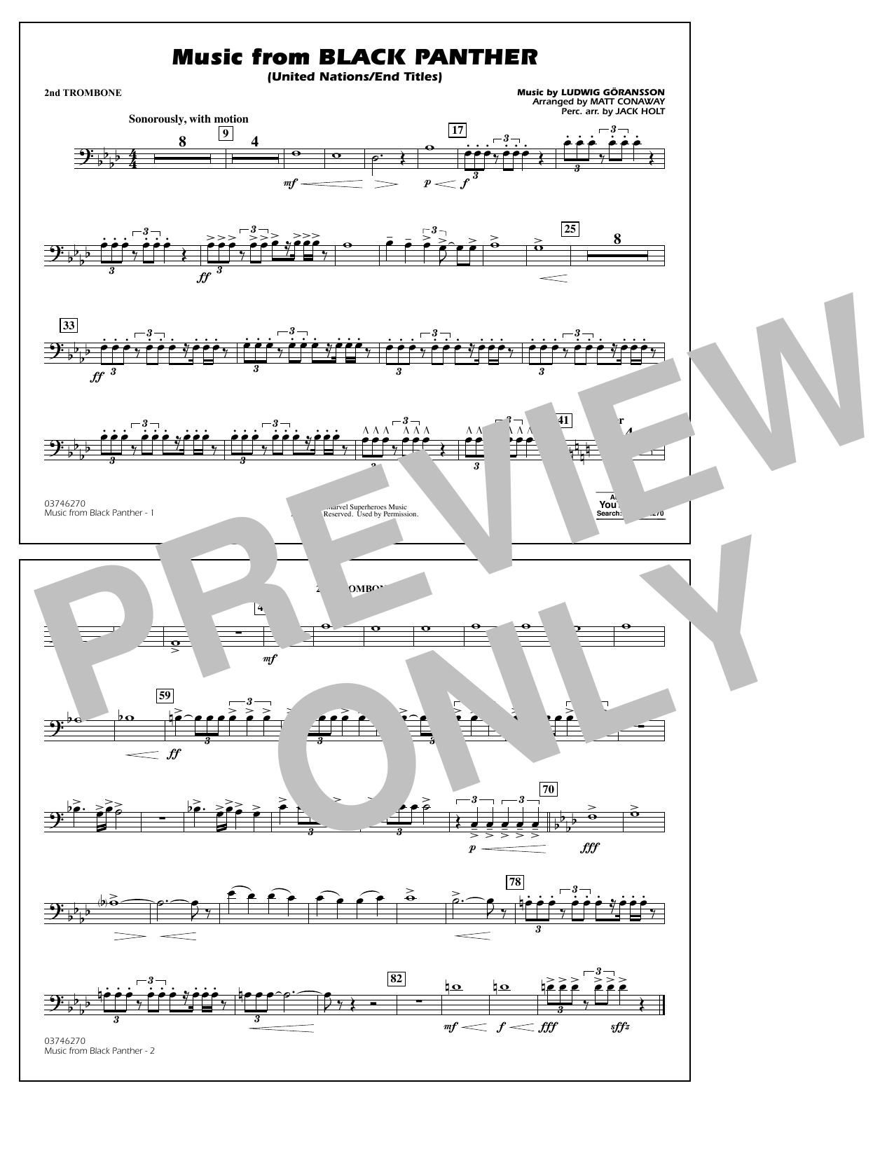 Music from Black Panther (arr. Matt Conaway) - 2nd Trombone (Marching Band)
