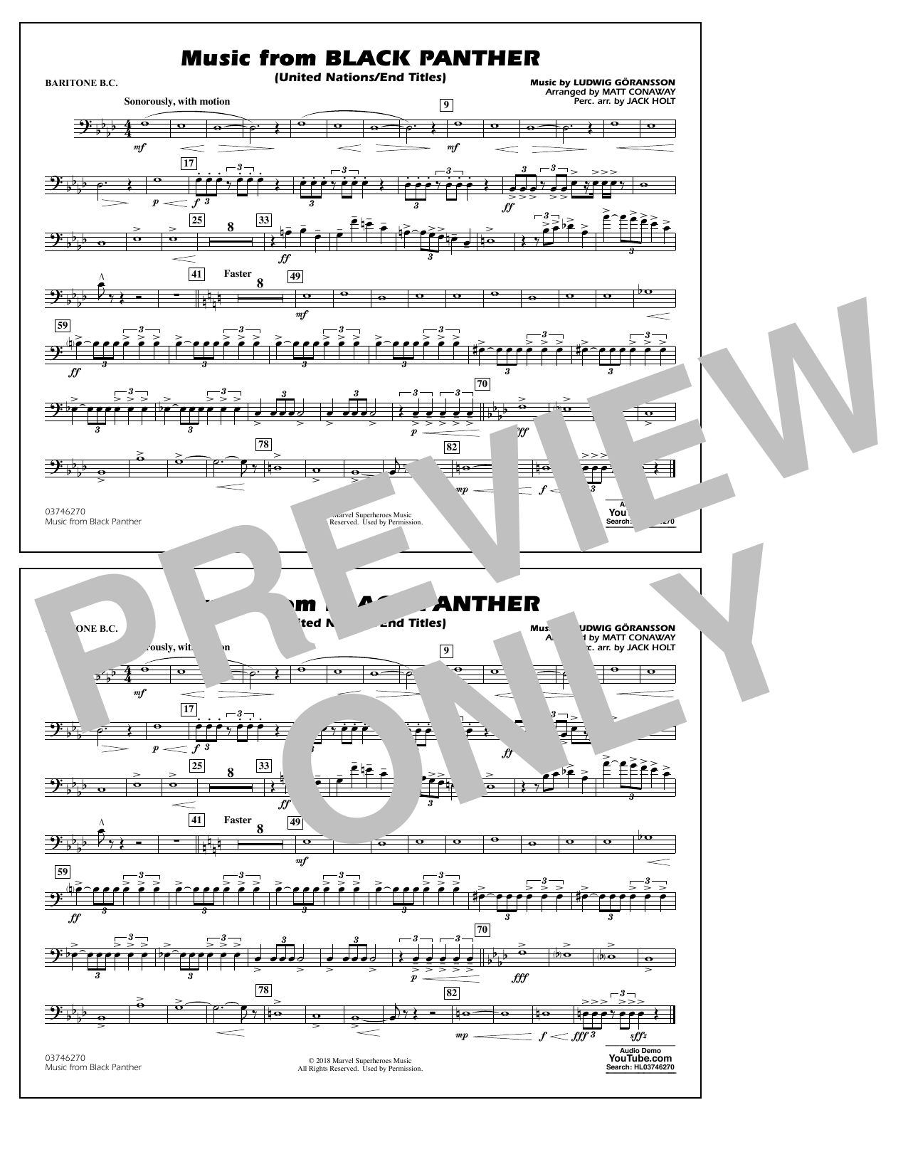 Music from Black Panther (arr. Matt Conaway) - Baritone B.C. (Marching Band)