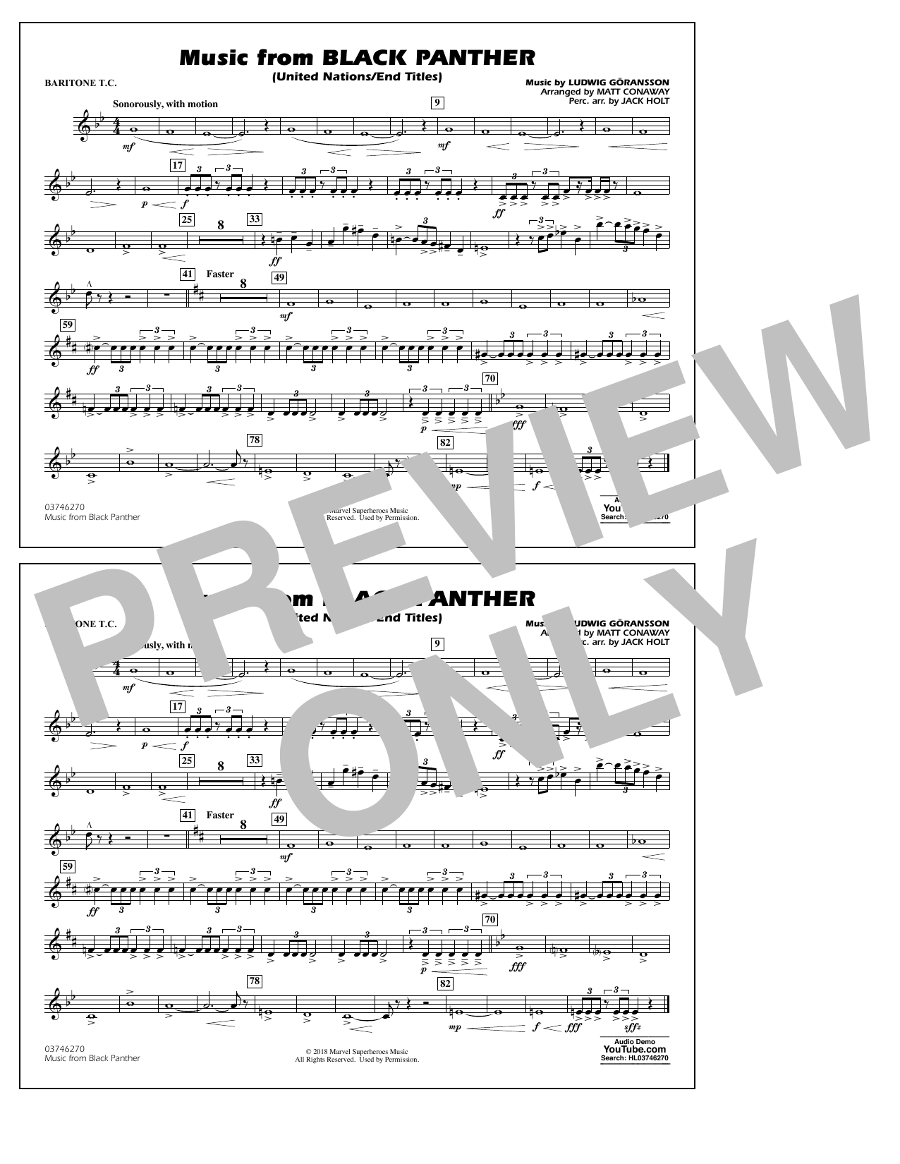 Music from Black Panther (arr. Matt Conaway) - Baritone T.C. (Marching Band)