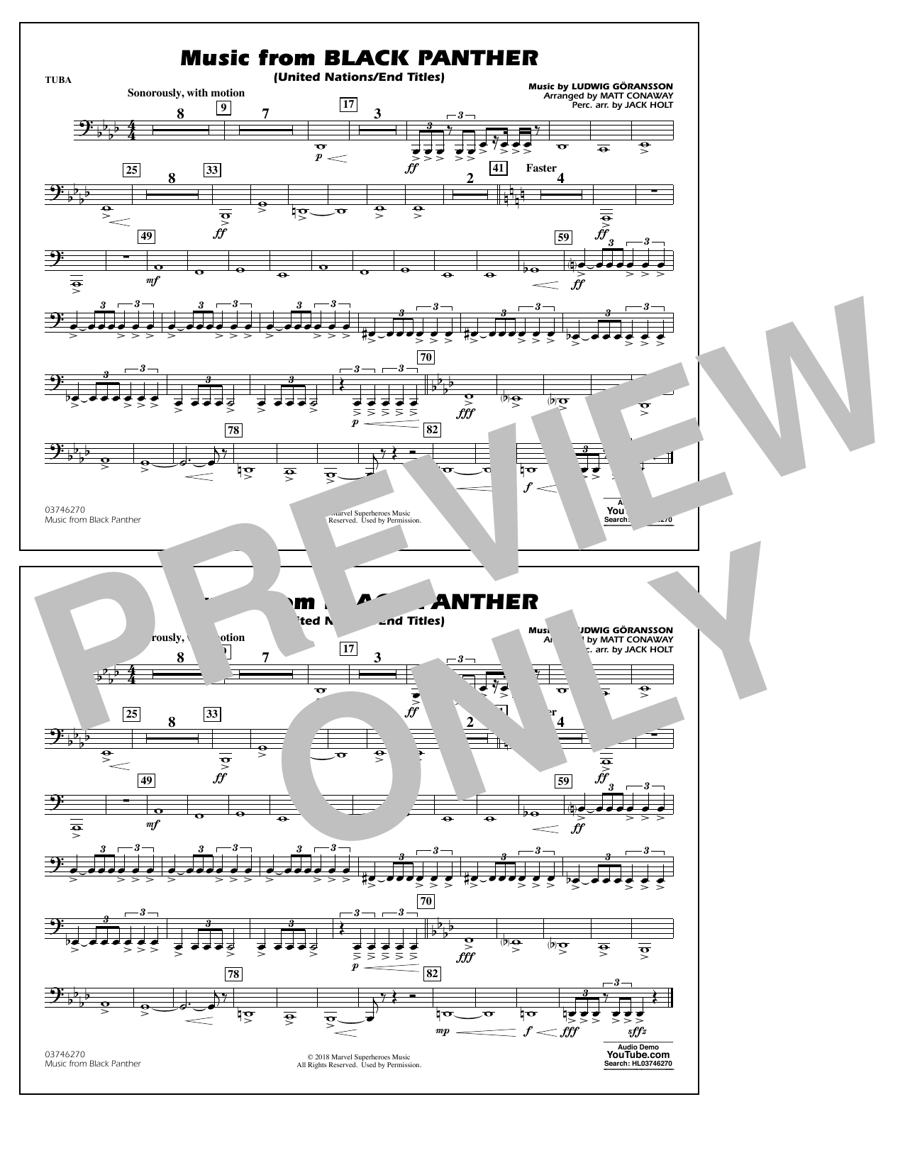 Music from Black Panther (arr. Matt Conaway) - Tuba (Marching Band)