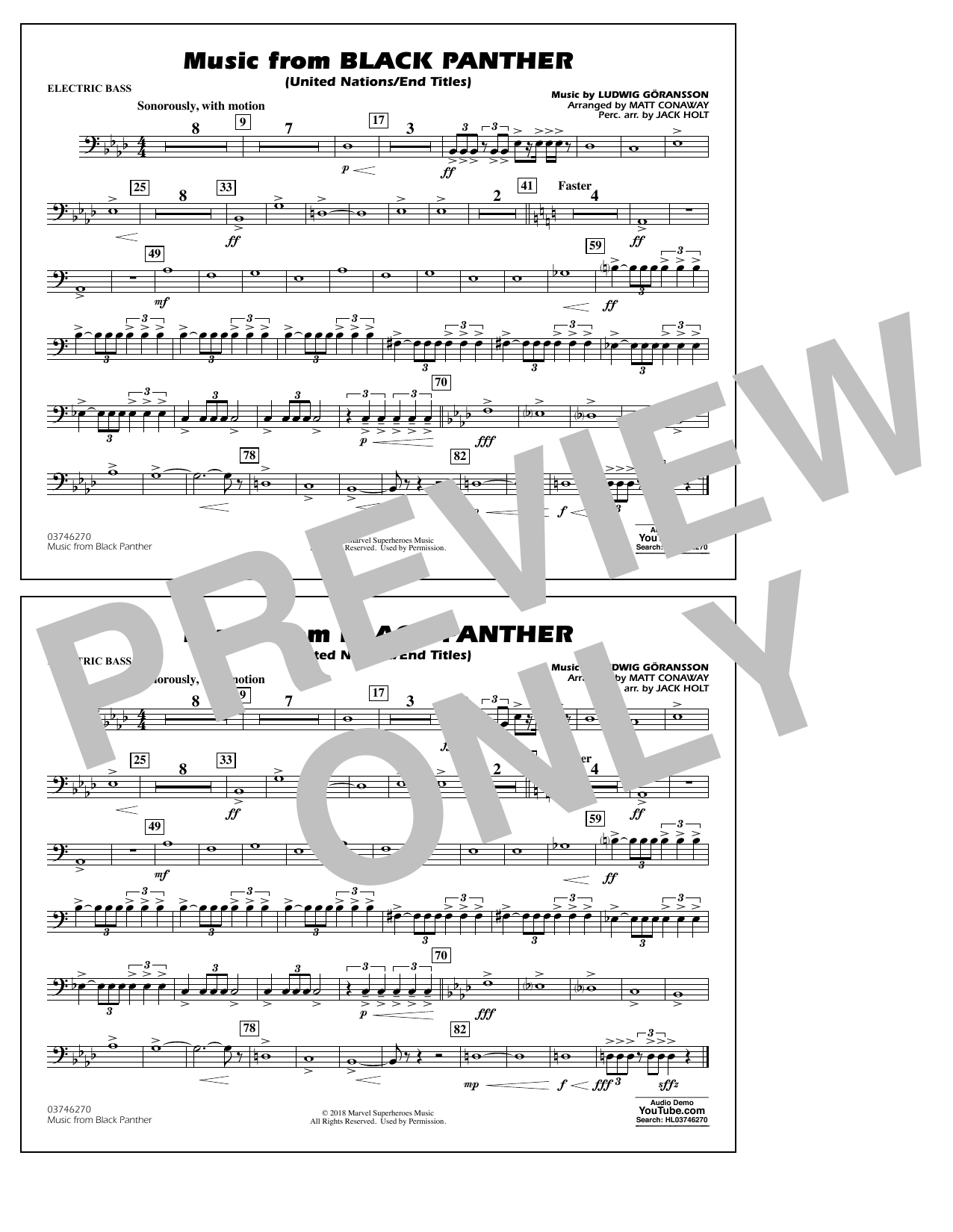 Music from Black Panther (arr. Matt Conaway) - Electric Bass (Marching Band)