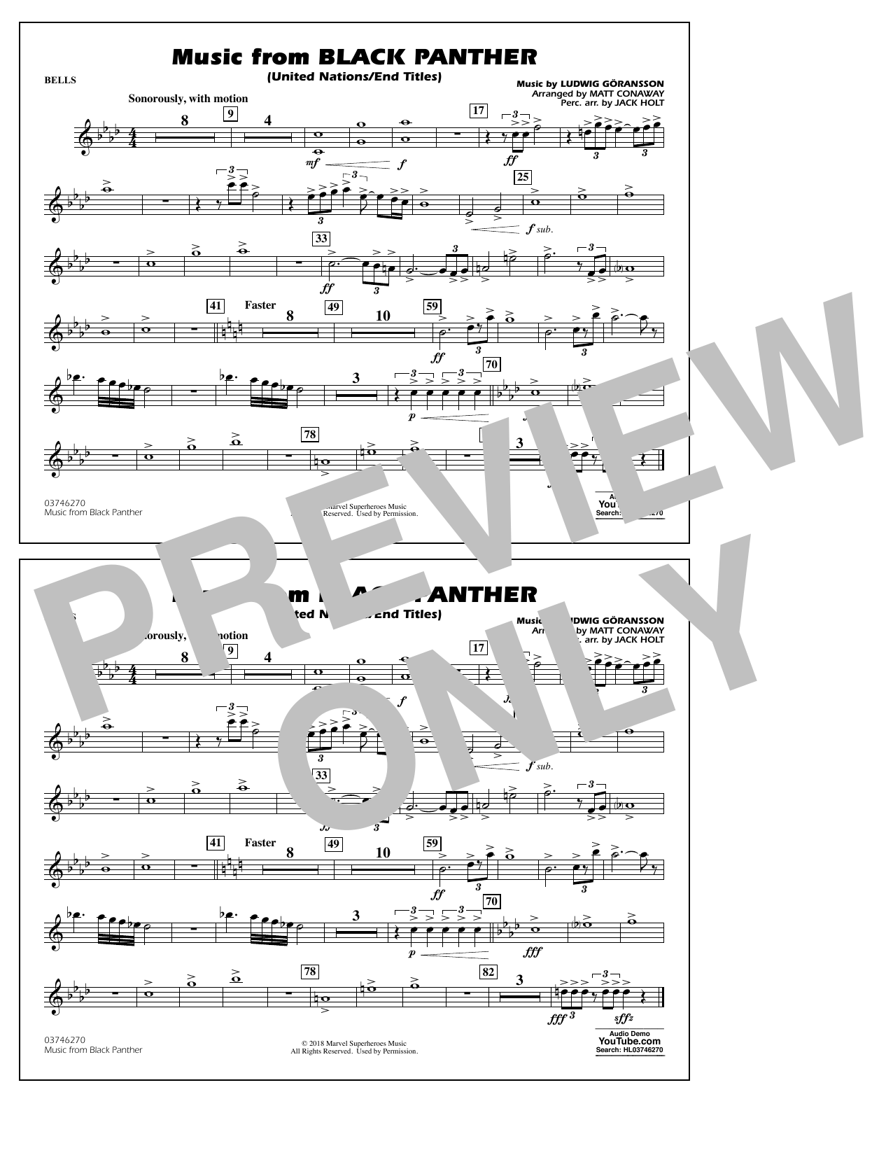 Music from Black Panther (arr. Matt Conaway) - Bells (Marching Band)