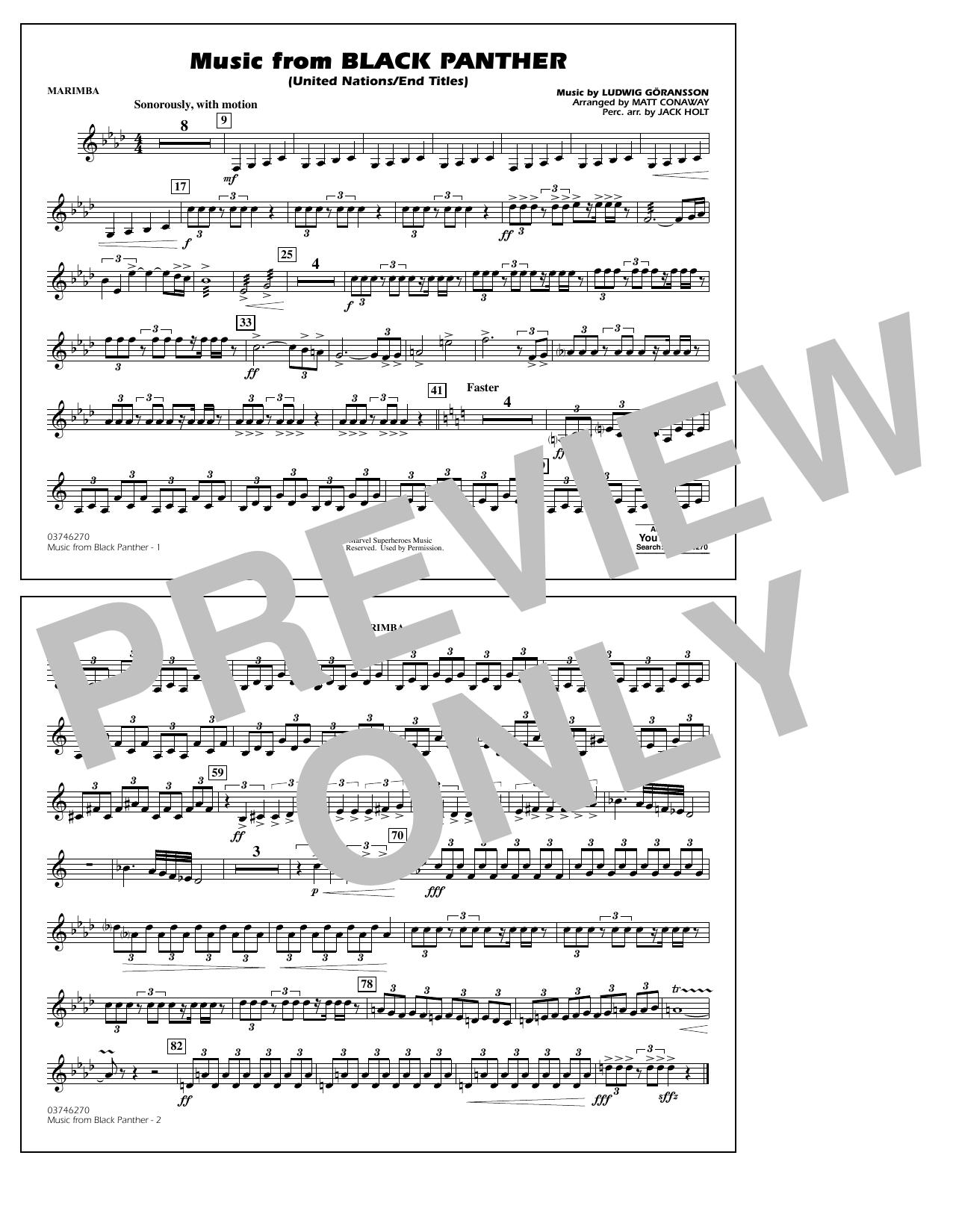 Music from Black Panther (arr. Matt Conaway) - Marimba (Marching Band)