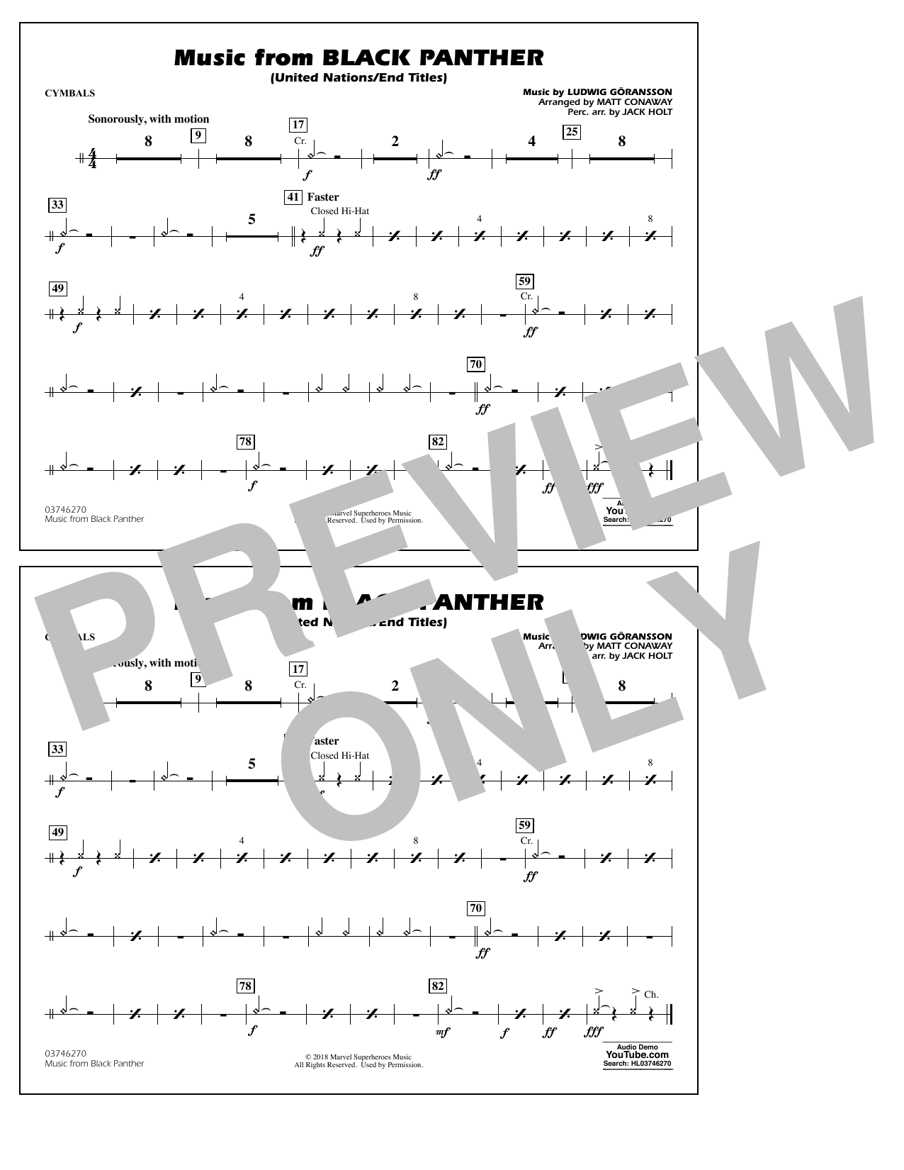 Music from Black Panther (arr. Matt Conaway) - Cymbals (Marching Band)