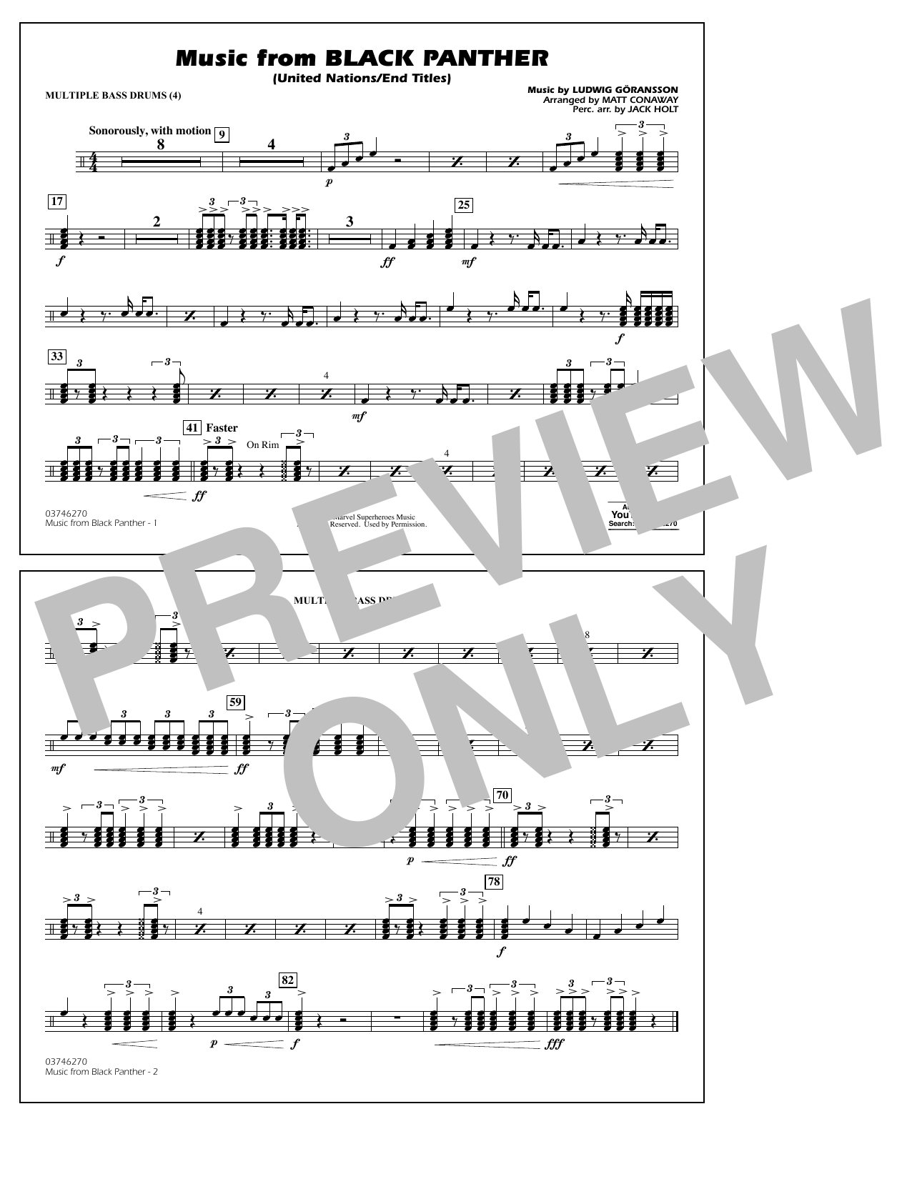 Music from Black Panther (arr. Matt Conaway) - Multiple Bass Drums (Marching Band)
