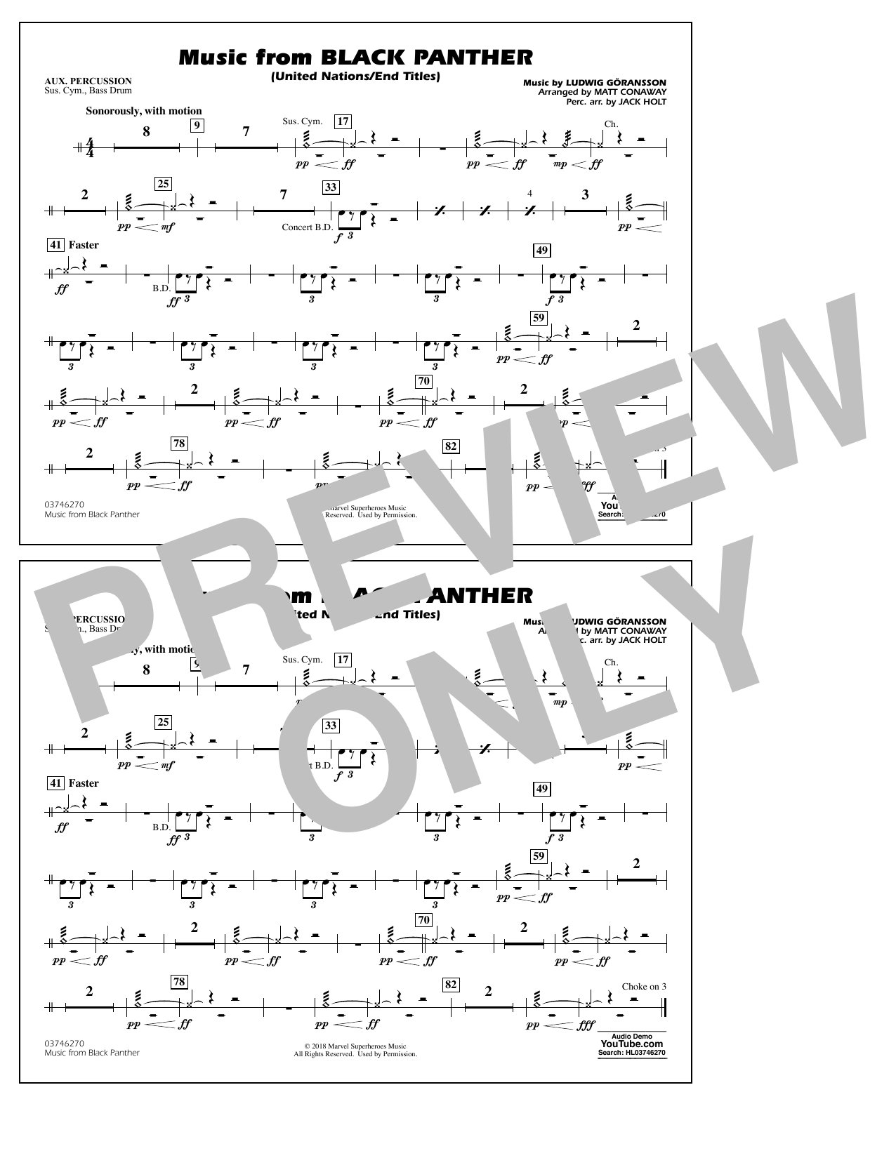 Music from Black Panther (arr. Matt Conaway) - Aux Percussion (Marching Band)
