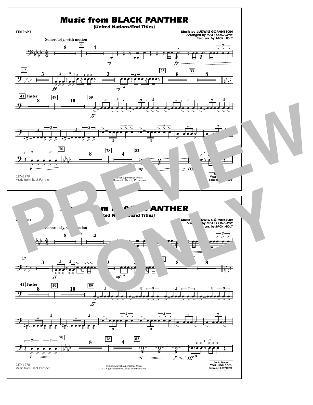 Music from Black Panther (arr. Matt Conaway) - Timpani (Marching Band)