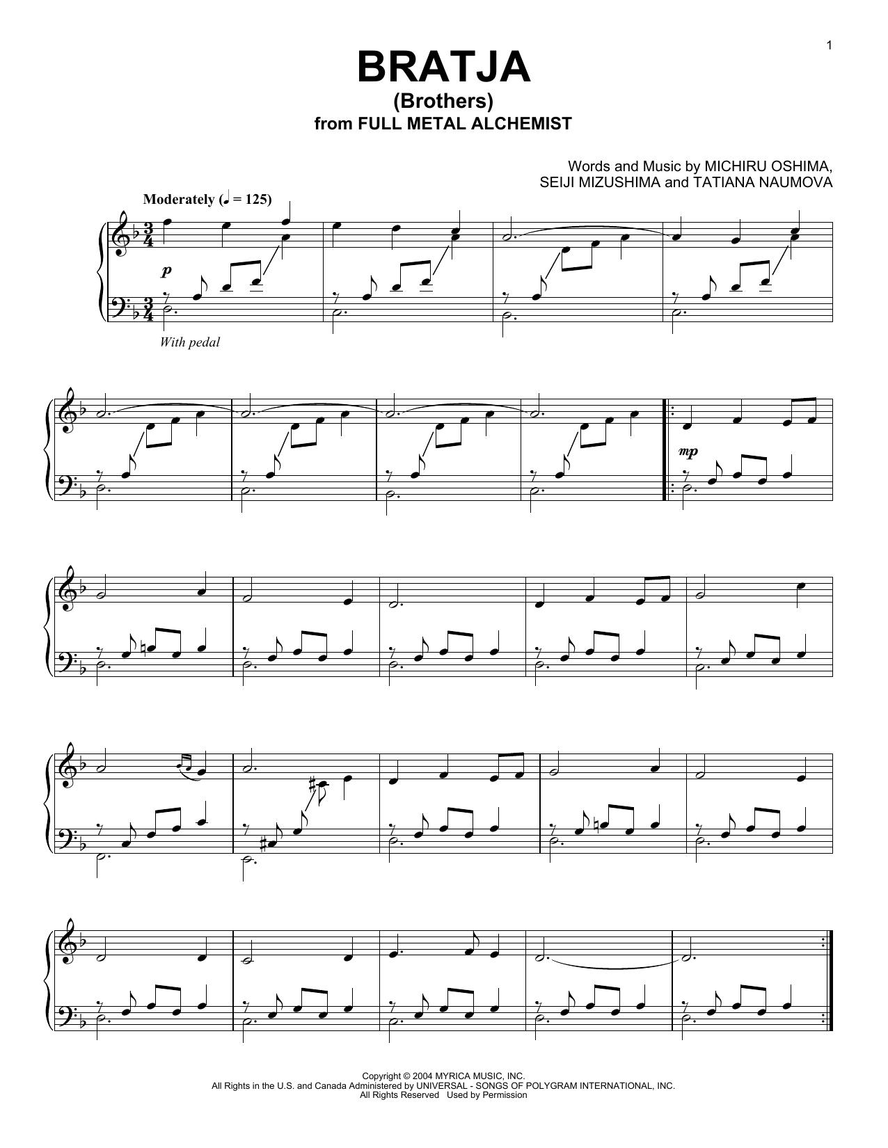Bratja (Brothers) (Piano Solo)