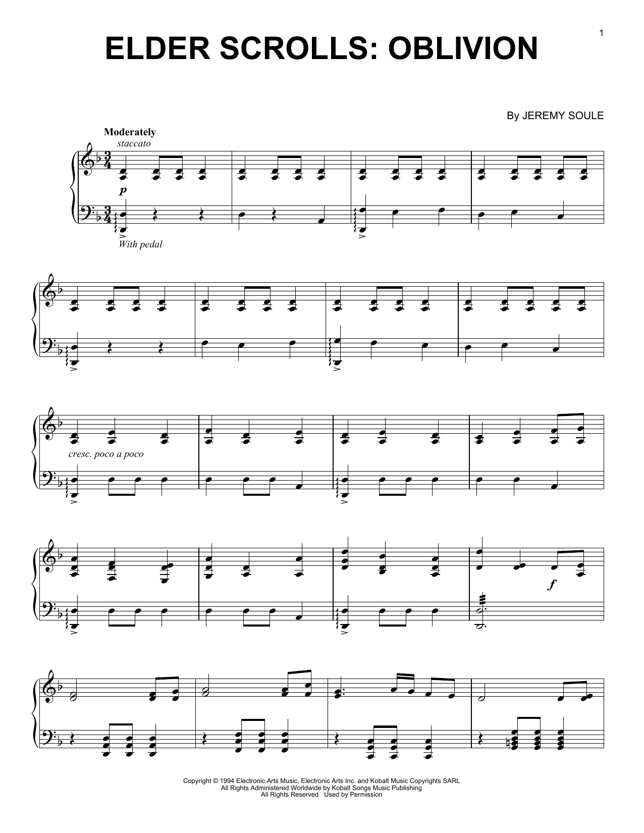 Elder Scrolls IV: Oblivion (Piano Solo)