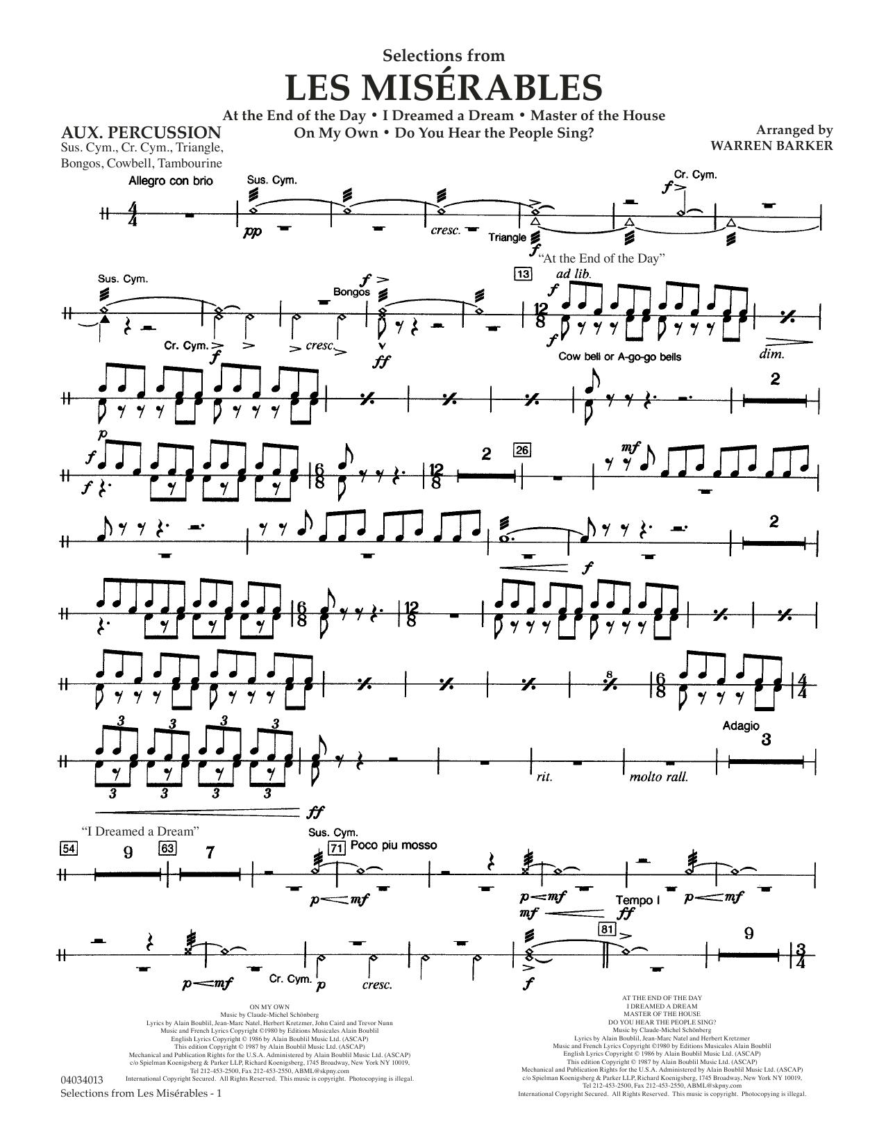 Selections from Les Misérables (arr. Warren Barker) - Aux Percussion (Concert Band)