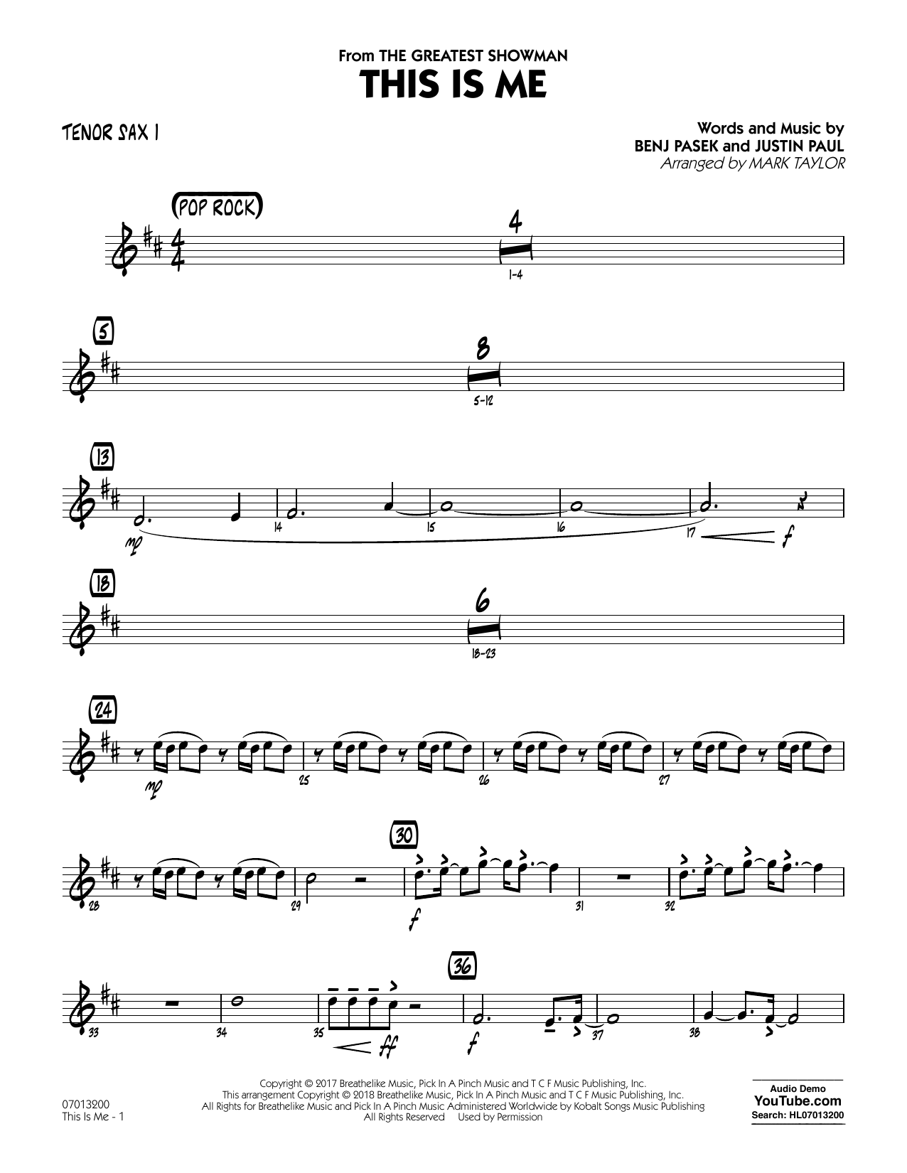 This Is Me (from The Greatest Showman) (arr. Mark Taylor) - Tenor Sax 1 (Jazz Ensemble)
