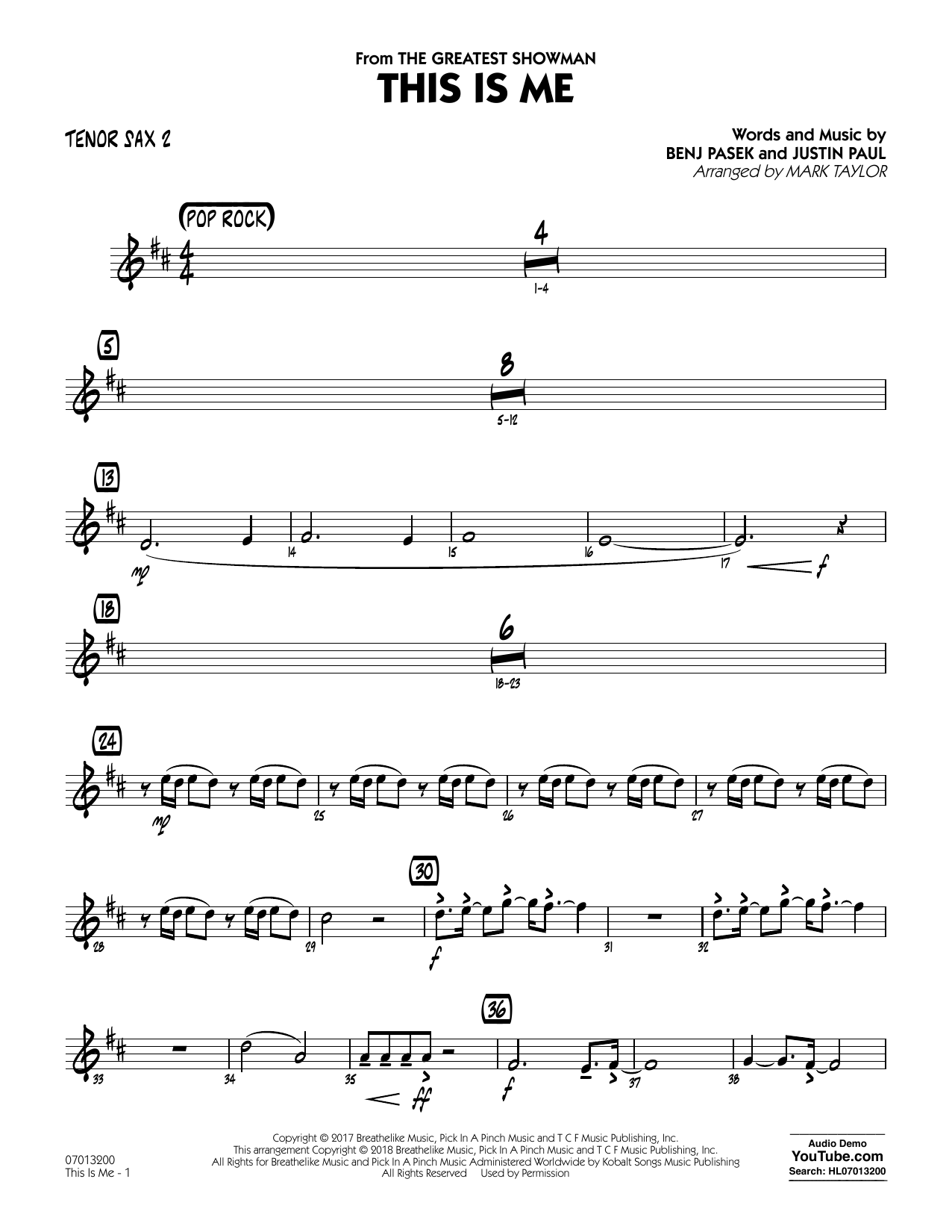 This Is Me (from The Greatest Showman) (arr. Mark Taylor) - Tenor Sax 2 (Jazz Ensemble)
