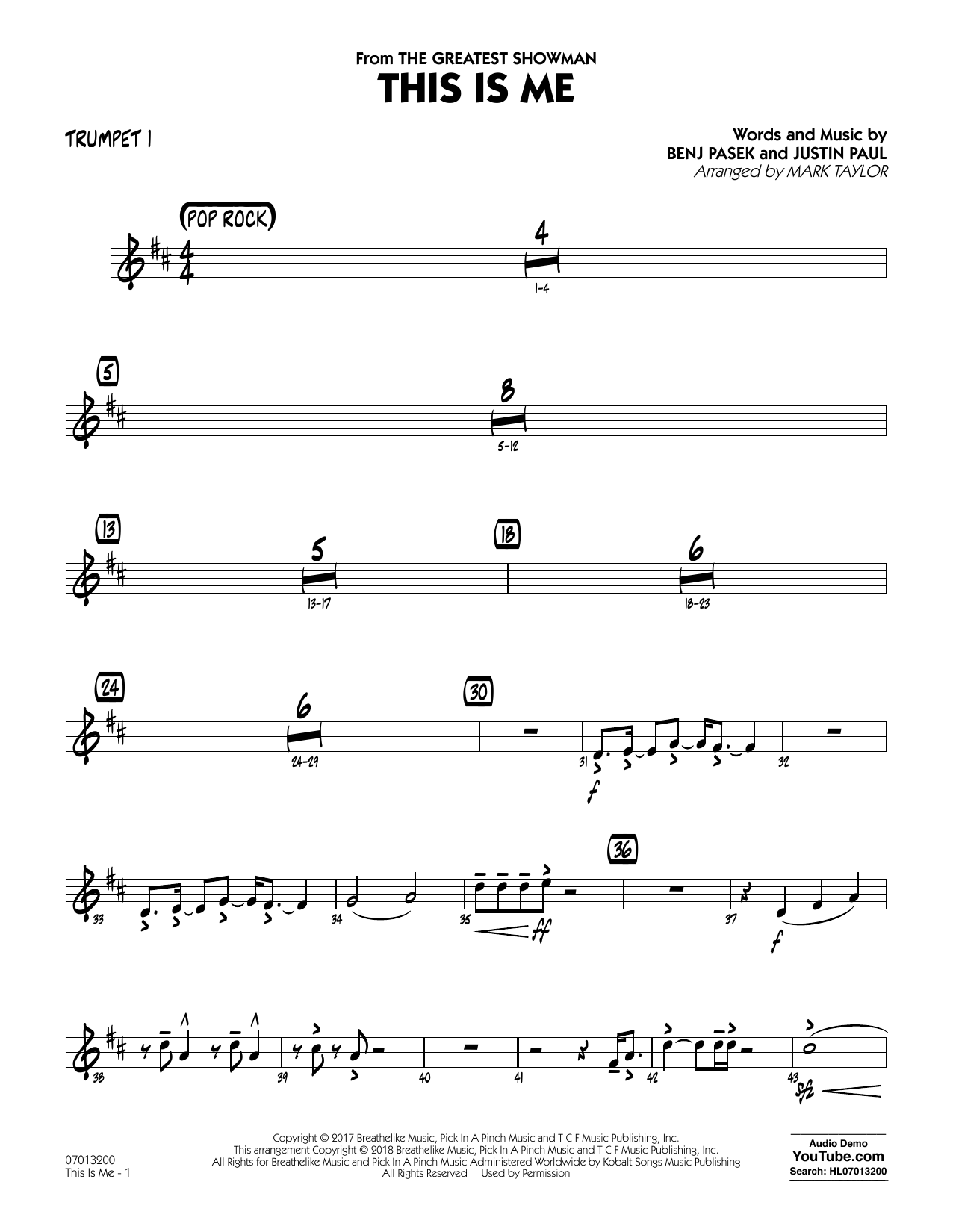 This Is Me (from The Greatest Showman) (arr. Mark Taylor) - Trumpet 1 (Jazz Ensemble)