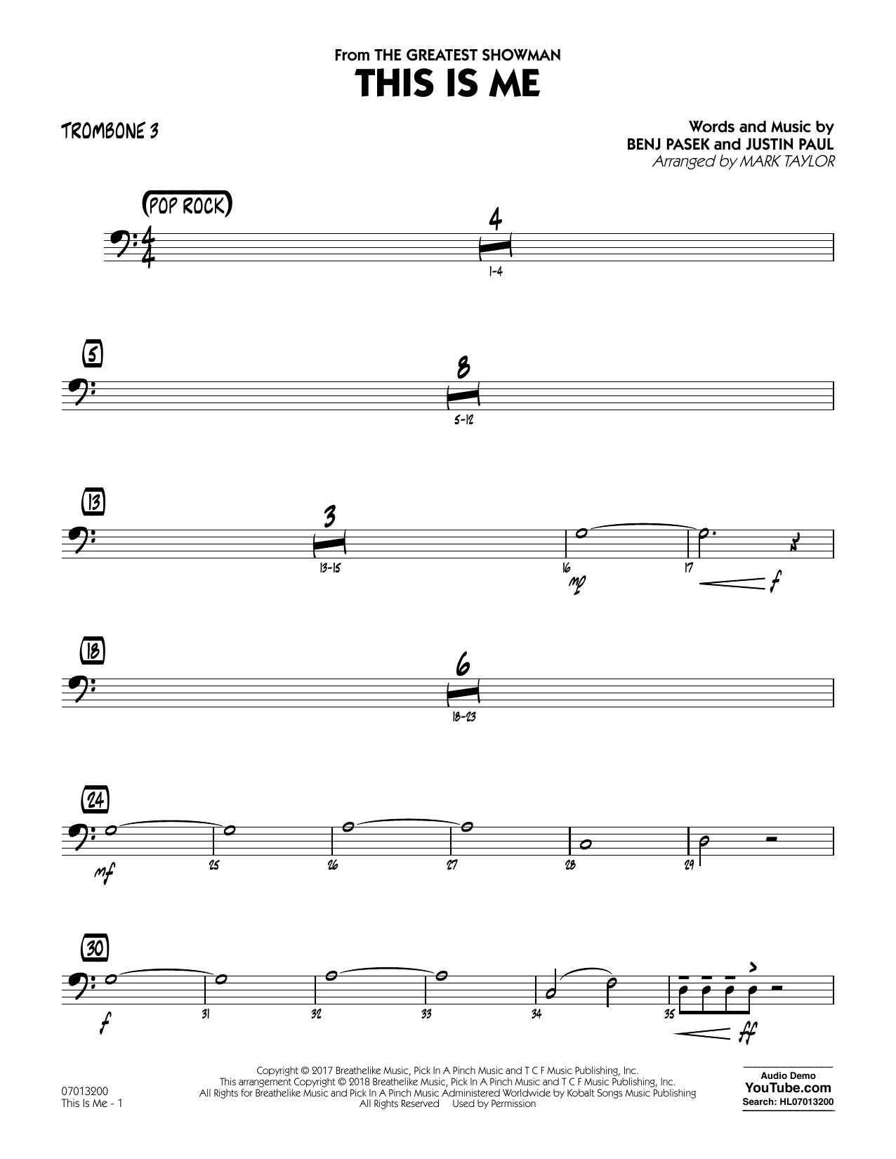 This Is Me (from The Greatest Showman) (arr. Mark Taylor) - Trombone 3 (Jazz Ensemble)