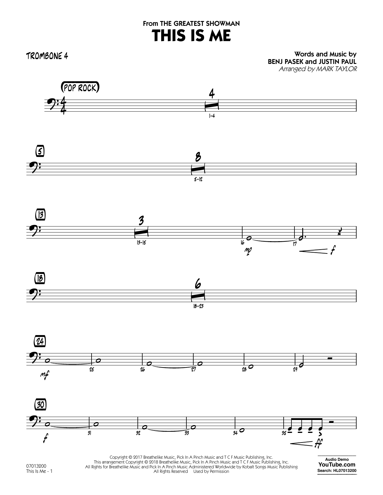 This Is Me (from The Greatest Showman) (arr. Mark Taylor) - Trombone 4 (Jazz Ensemble)