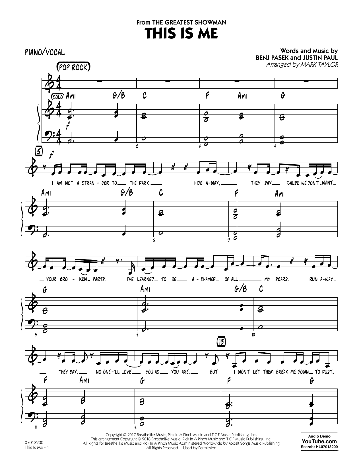 This Is Me (from The Greatest Showman) (arr. Mark Taylor) - Piano/Vocal (Jazz Ensemble)