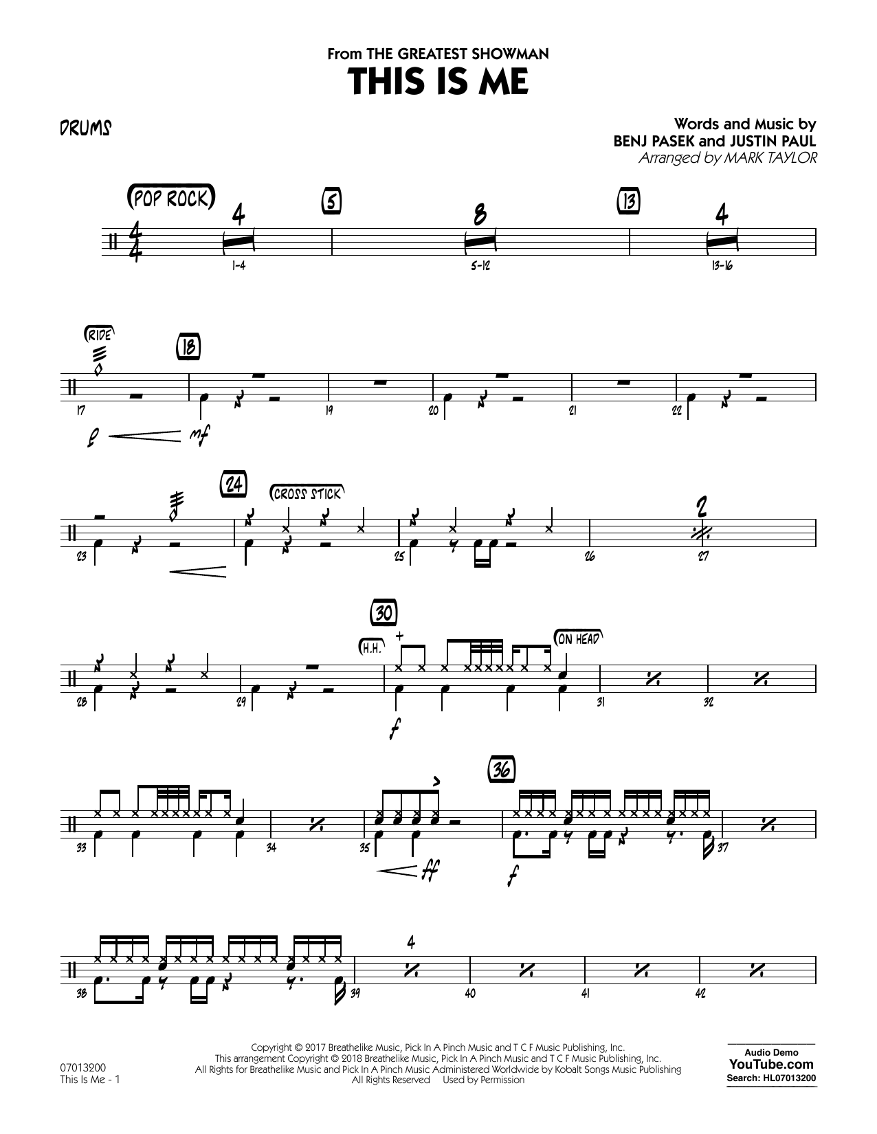 This Is Me (from The Greatest Showman) (arr. Mark Taylor) - Drums (Jazz Ensemble)