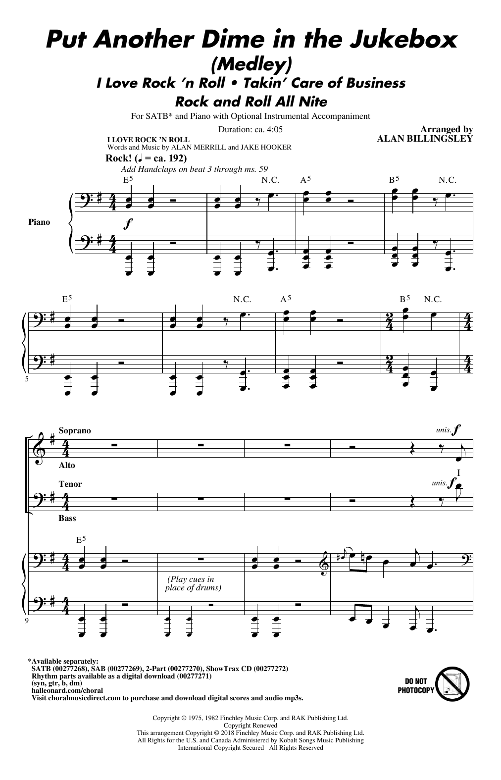 Put Another Dime In The Jukebox (Medley) Sheet Music