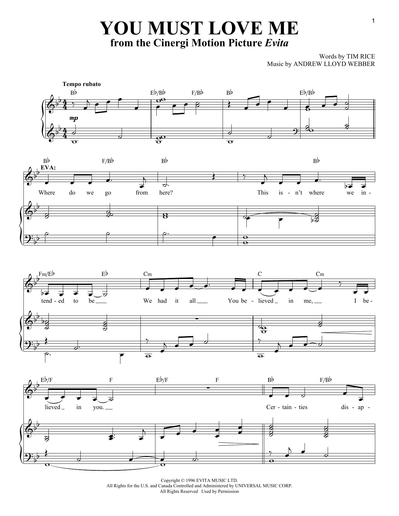 You Must Love Me (from Evita) (Piano & Vocal)