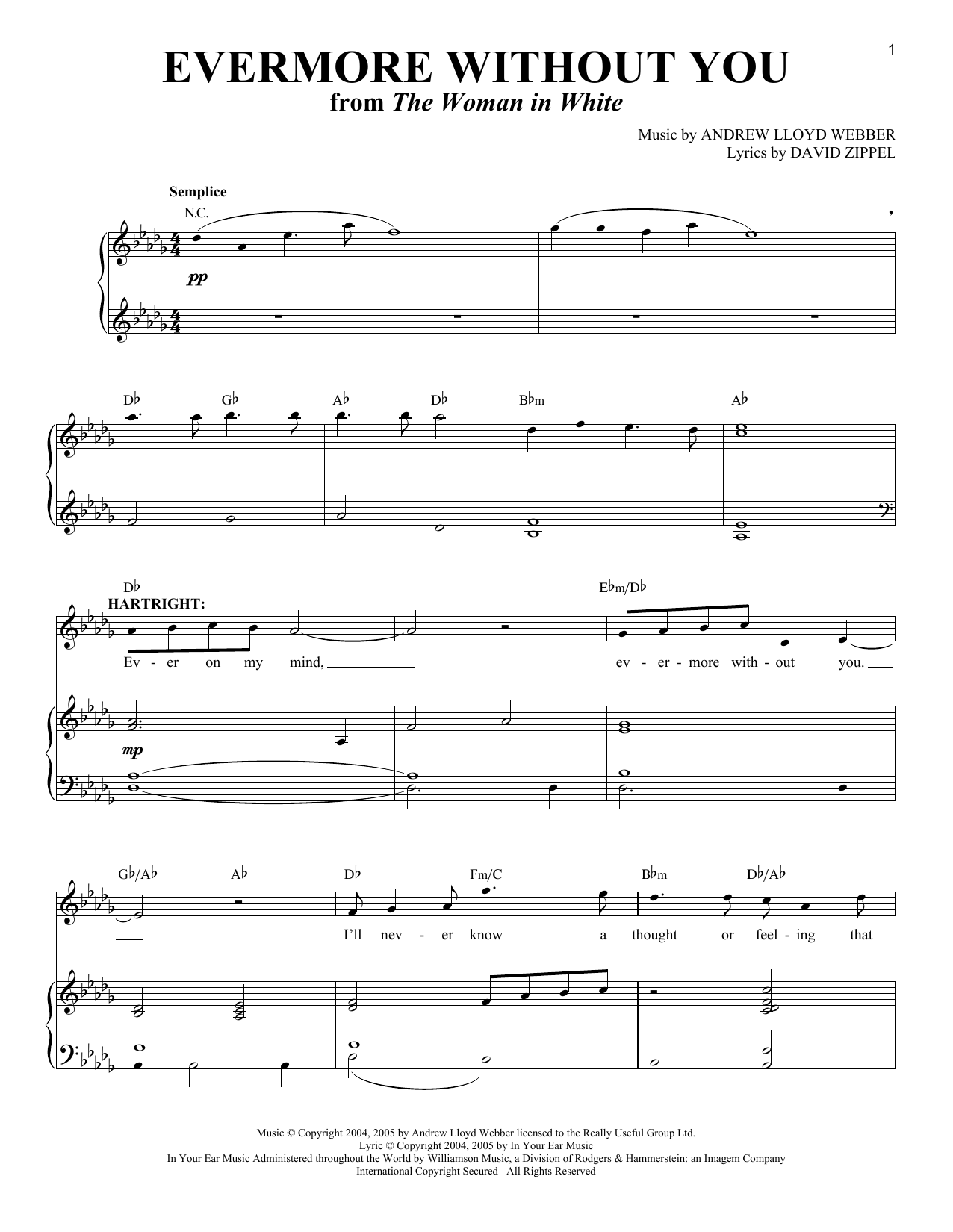 Evermore Without You (from The Woman In White) (Piano & Vocal)