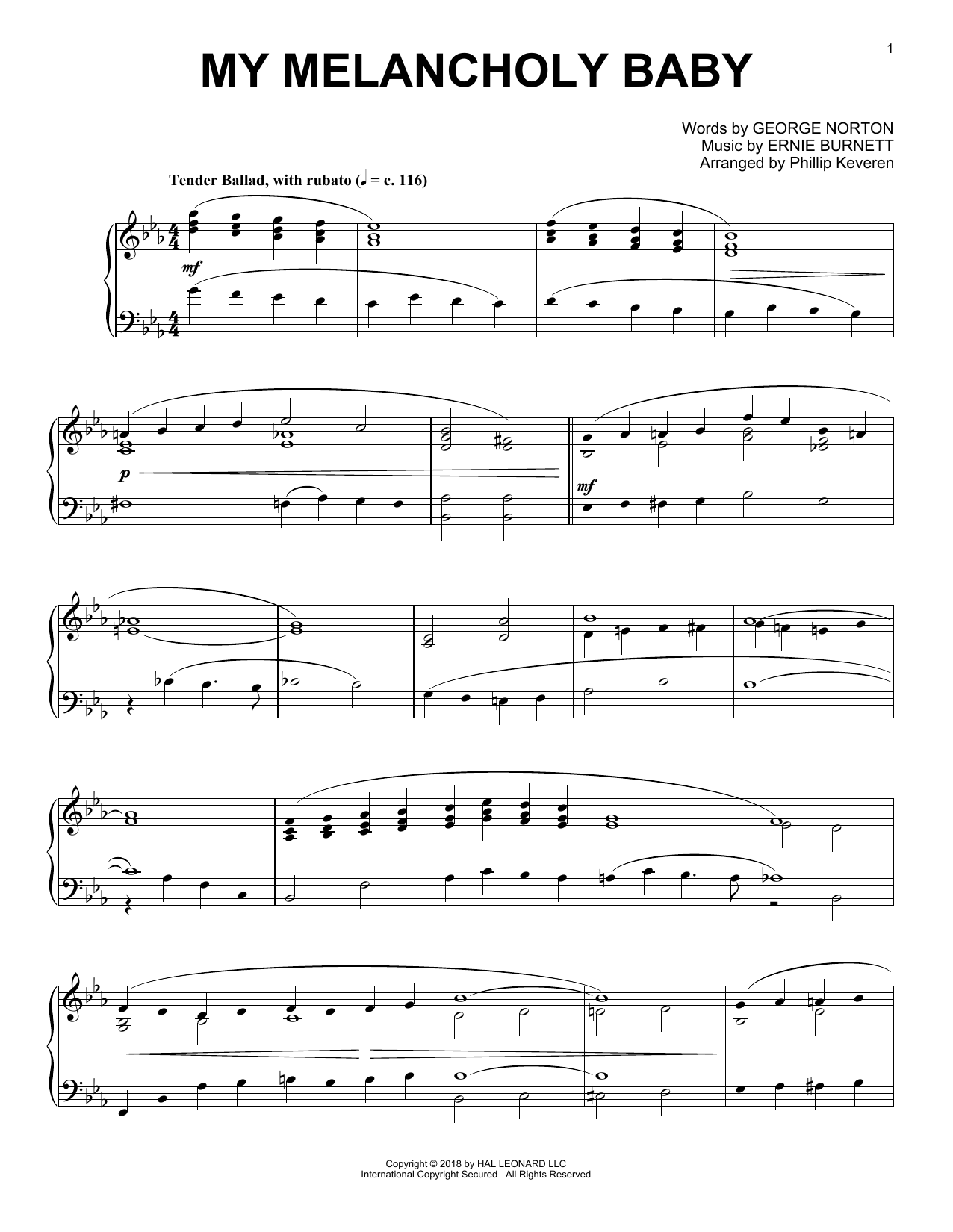 My Melancholy Baby [Jazz version] (arr. Phillip Keveren) (Piano Solo)