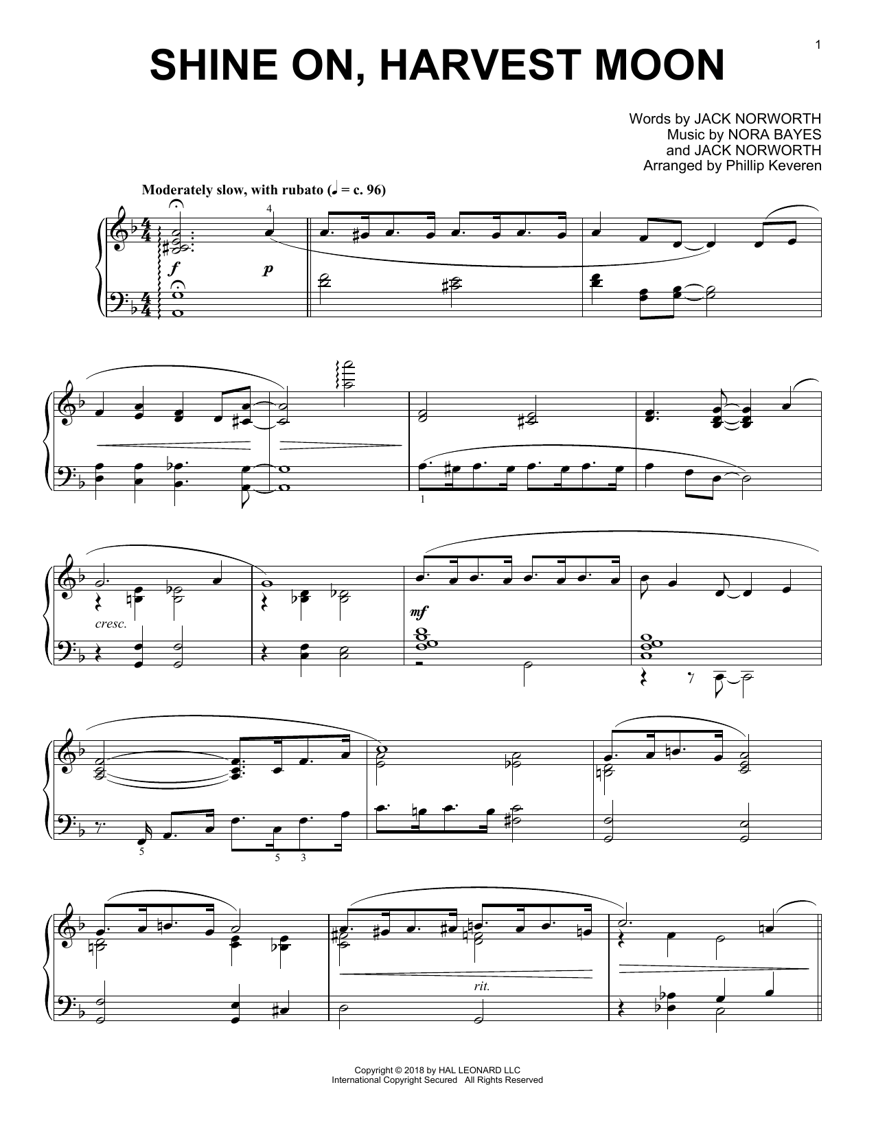 Shine On, Harvest Moon [Jazz version] (arr. Phillip Keveren) (Piano Solo)