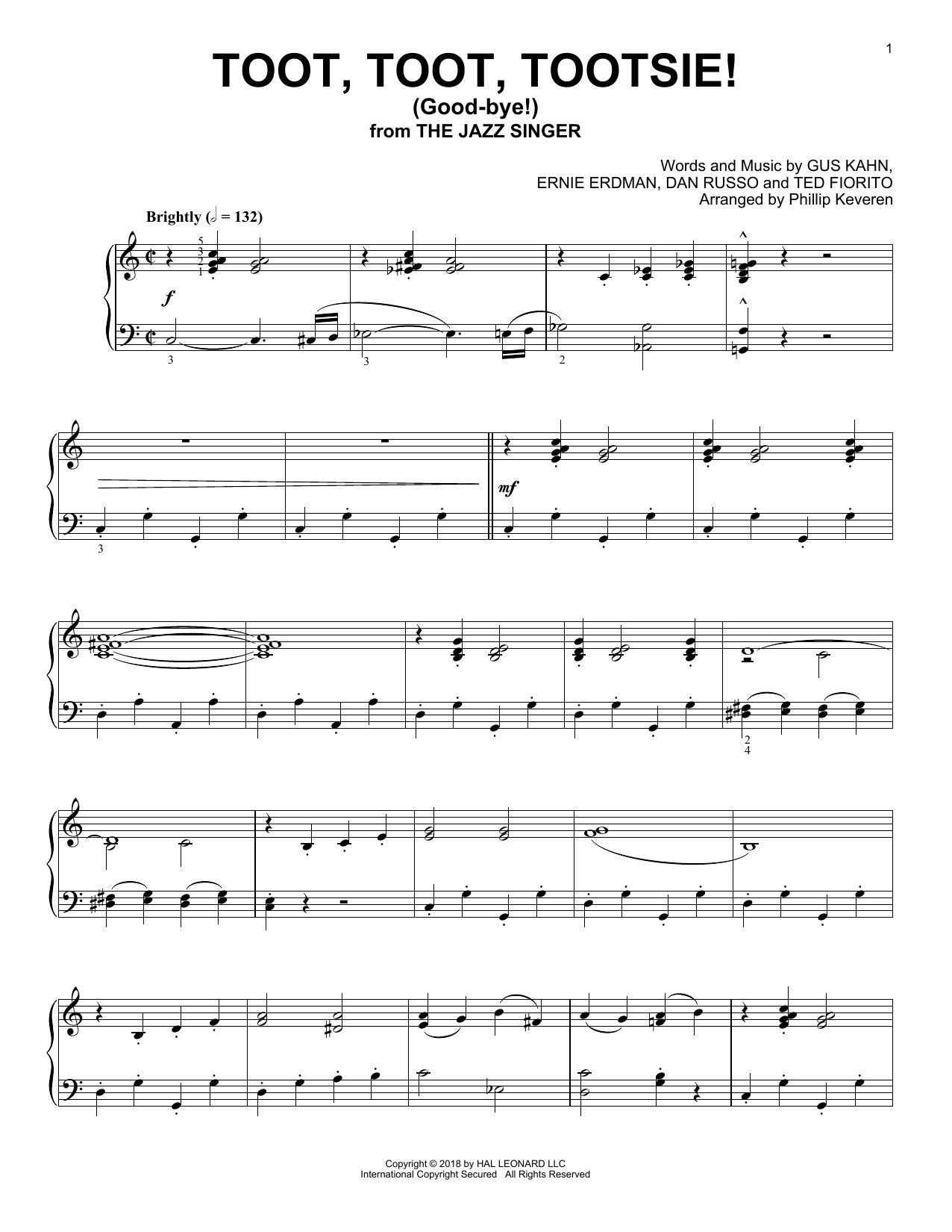 Toot, Toot, Tootsie! (Good-bye!) (arr. Phillip Keveren) (Piano Solo)